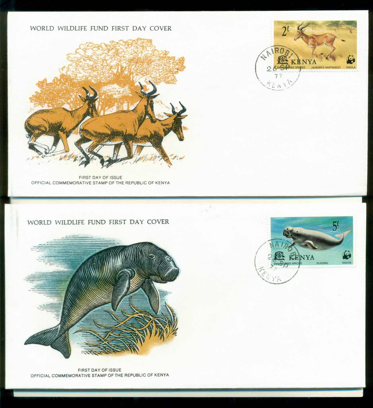 Kenya 1977 WWF,Hartbeeste, Dugong, Eland,Franlkin Mint (with inserts) 2xFDC lot79615