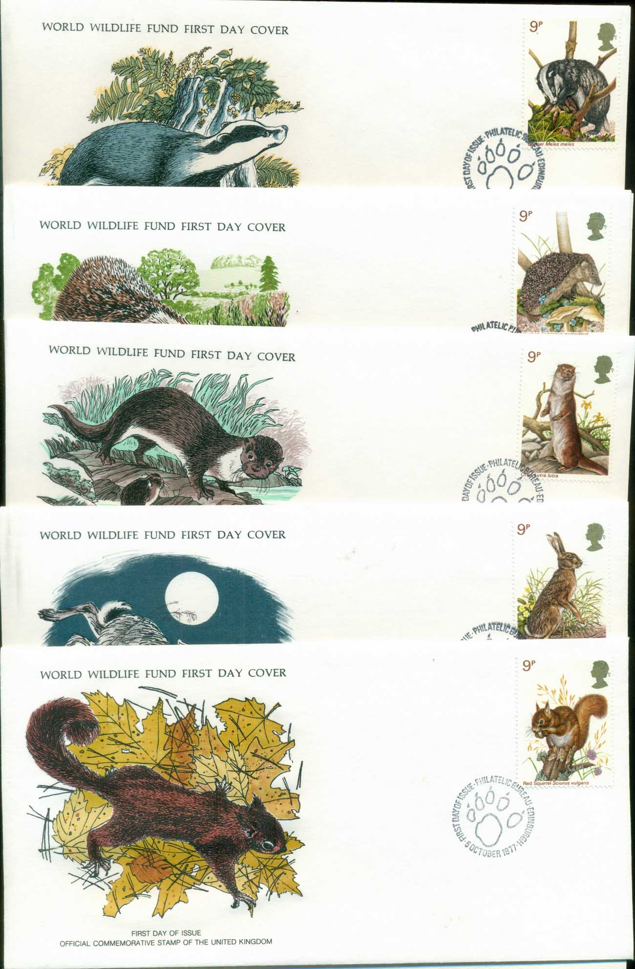 GB 1977 WWF,Badger, Hedgehog, Otter, Rabbit, Squirrel,Franlkin Mint (with inserts) 5xFDC lot79616