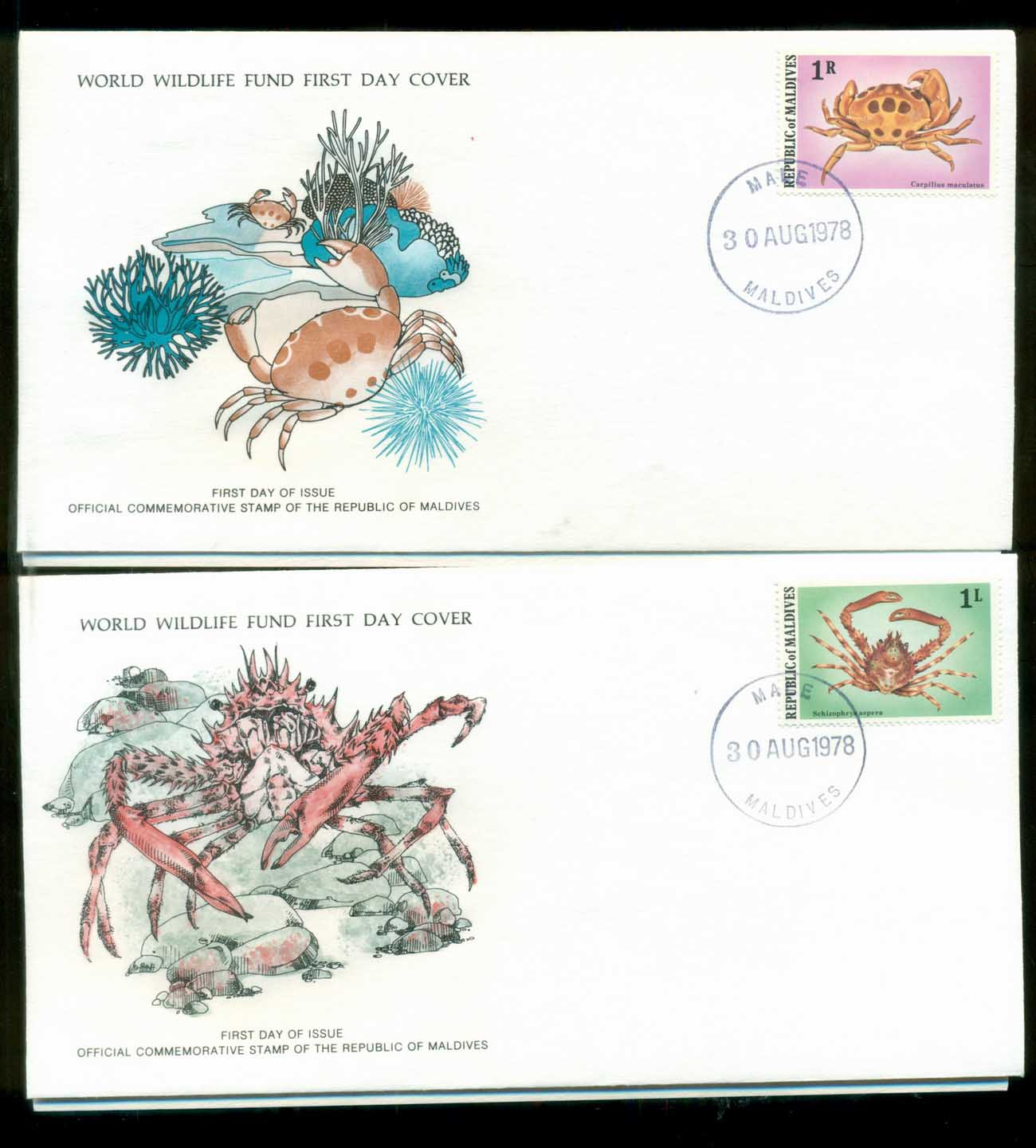 Maldives 1978 WWF,Crab, ,Franlkin Mint (with inserts) 2xFDC lot79619