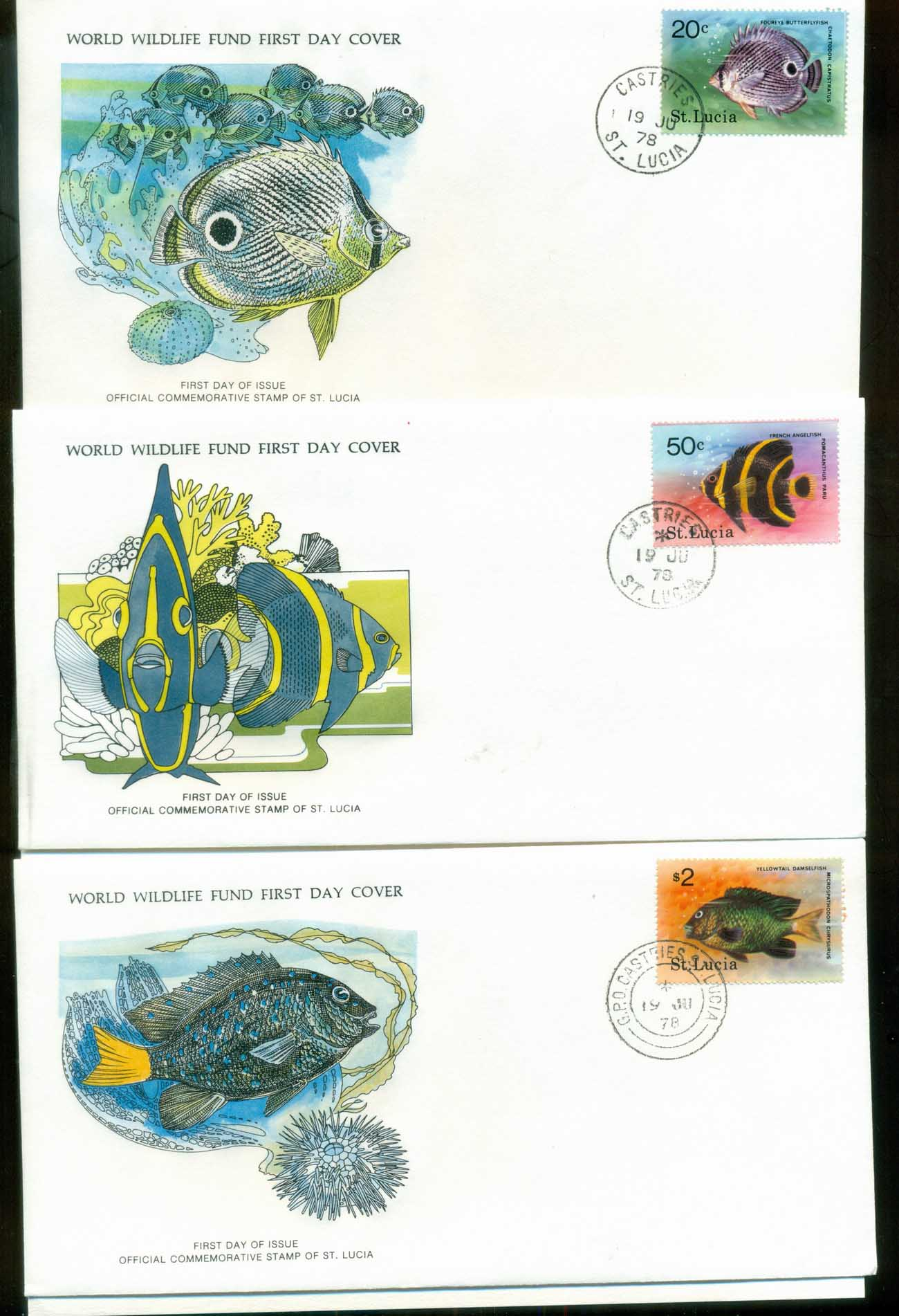 St Lucia 1978 WWF,Marine Life, Fish ,Franlkin Mint (with inserts) 3xFDC lot79623
