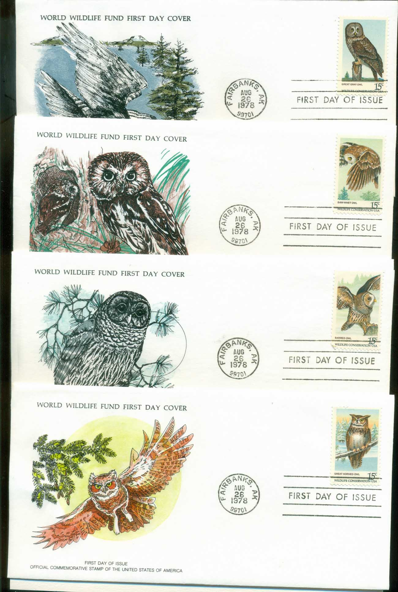 USA 1978 WWF,Owls, Birds ,Franlkin Mint (with inserts) 3xFDC lot79624