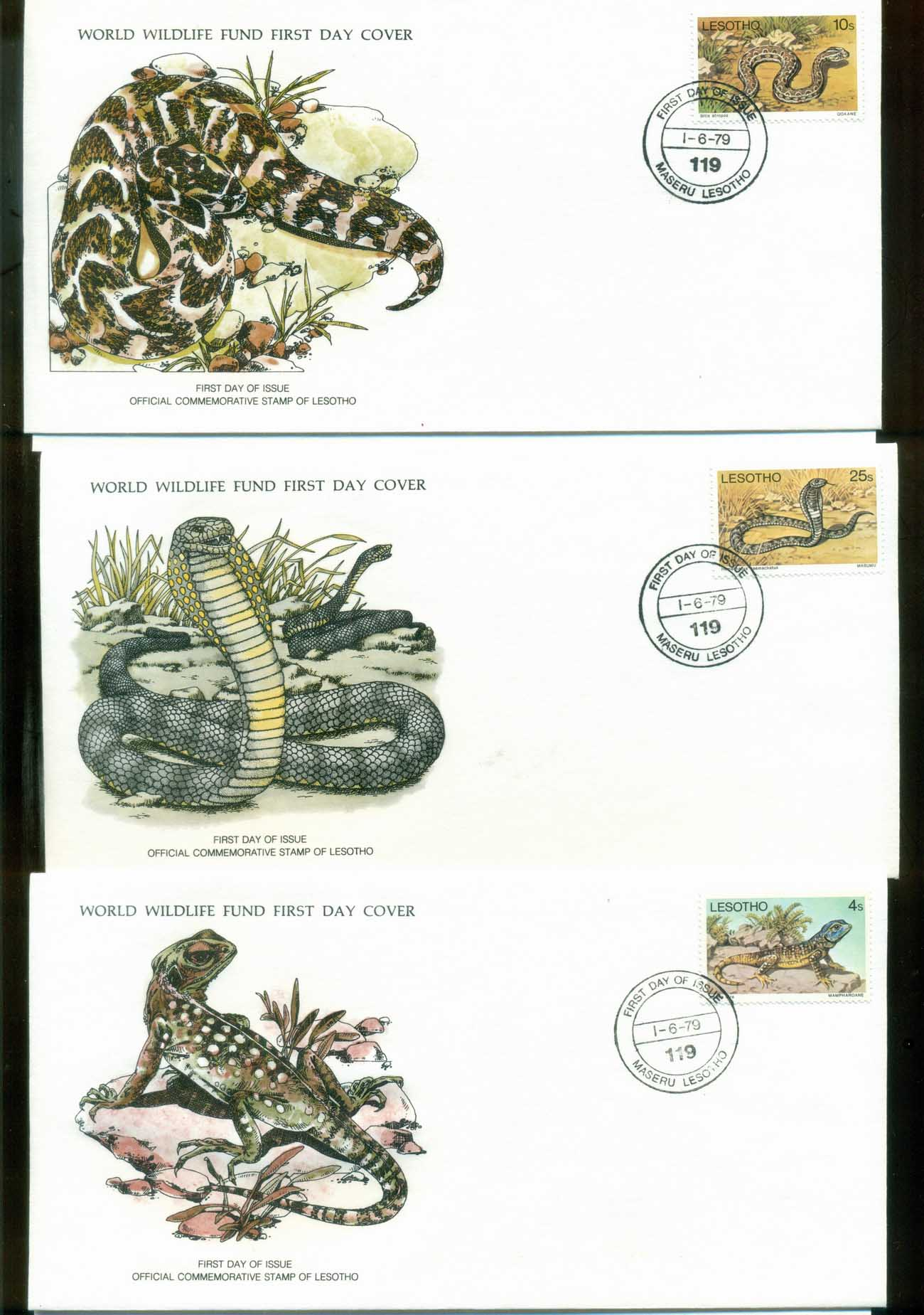 Lesotho 1979 WWF,Reptiles, Adder, RinghalsLizard, Franlkin Mint (with inserts) 3xFDC lot79635