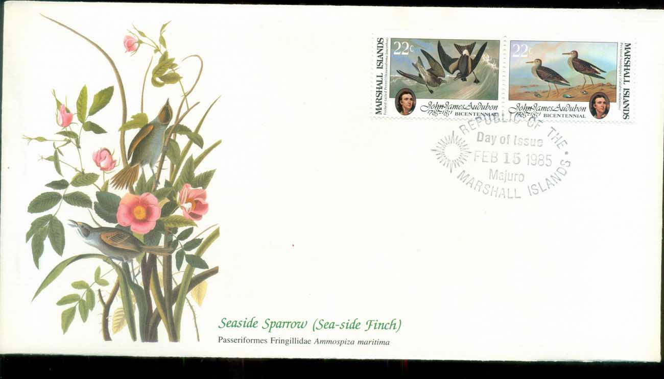 Marshall Is 1985 Audubon Birds, Franlkin Mint FDC lot79671