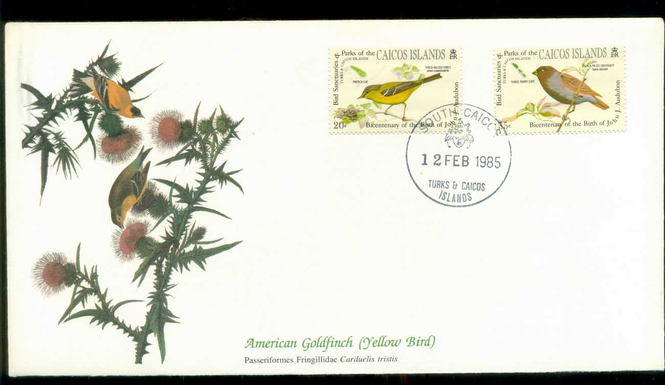 Caicos Is 1985 Audubon Birds, Franlkin Mint FDC lot79680