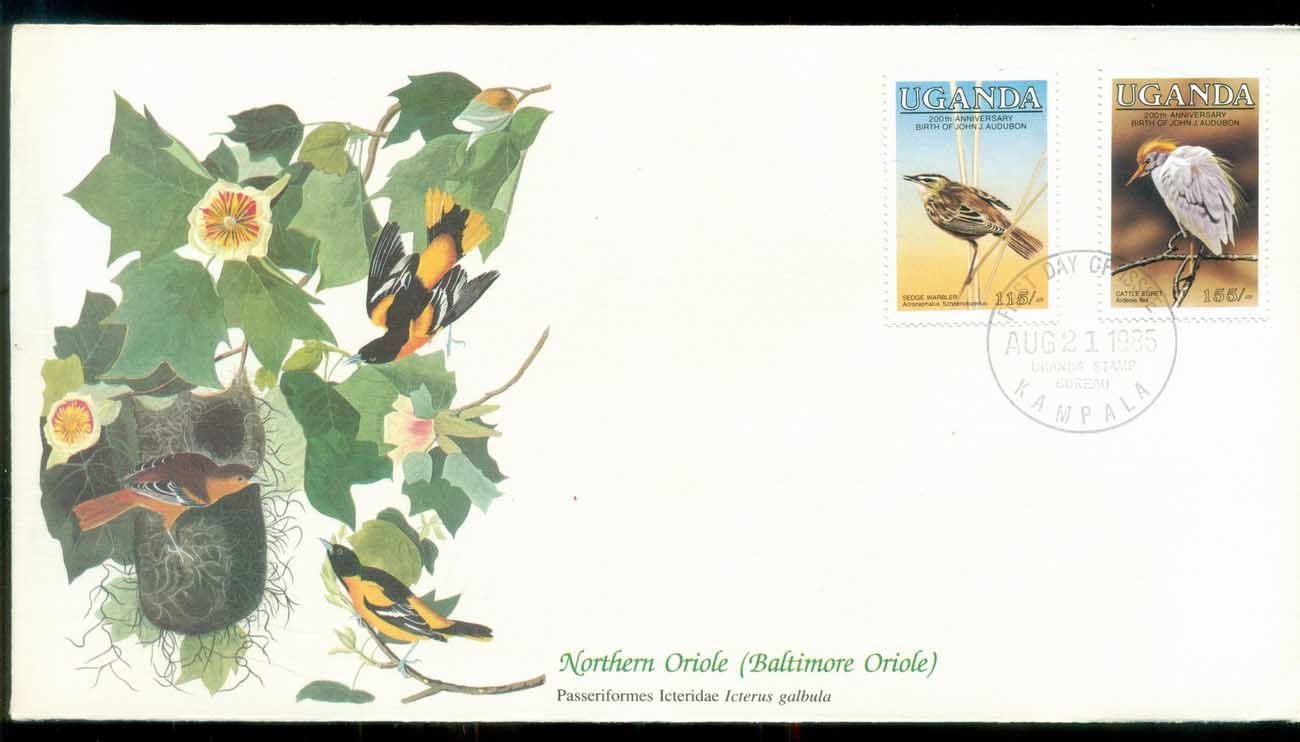 Uganda 1985 Audubon Birds, Franlkin Mint FDC lot79683