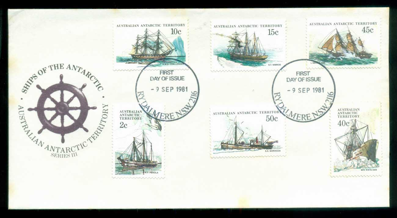 AAT 1981 Ships III (6), Rydalmere NSW (stains) FDC lot79733
