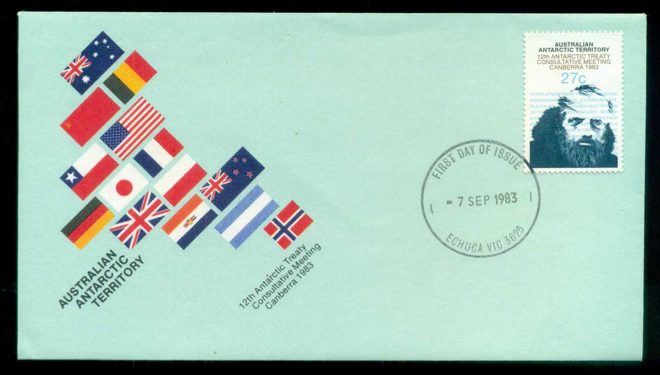 AAT 1983 Antarctic Treaty, Echucha Vic FDC lot79777