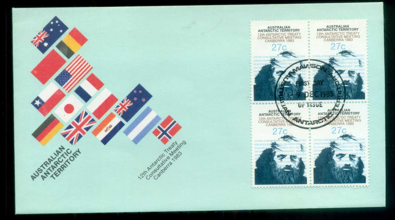 AAT 1983 Antarctic Treaty, Mawson Blk 4 FDC lot79786