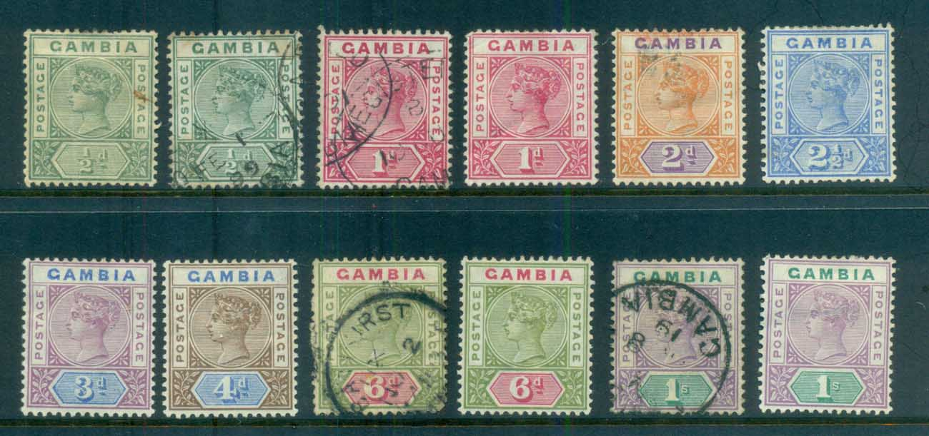 Gambia 1898 87 QV Asst (faults) MH/FU lot79873