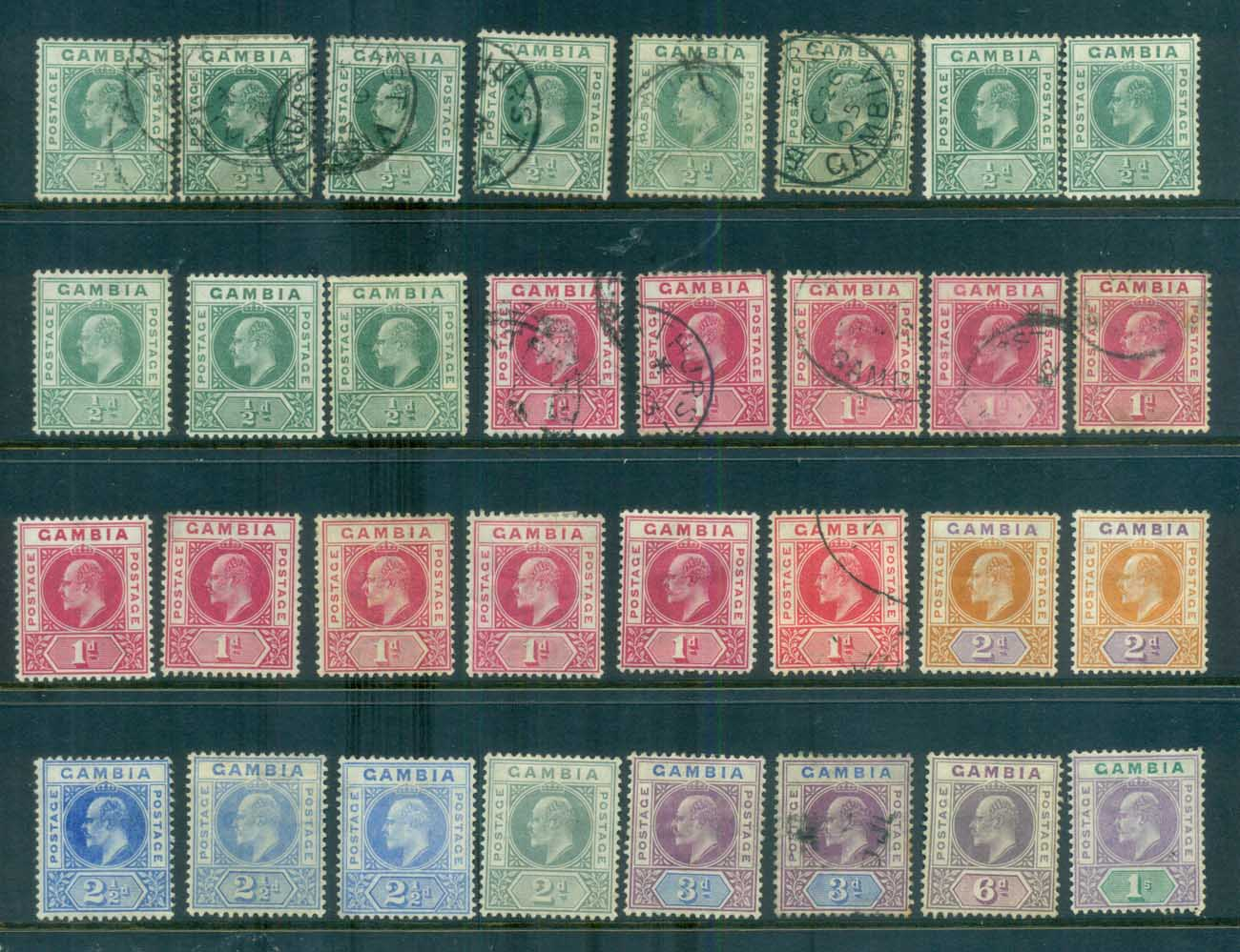 Gambia 1902-09 KEVII Asst (faults) MH/FU lot79874