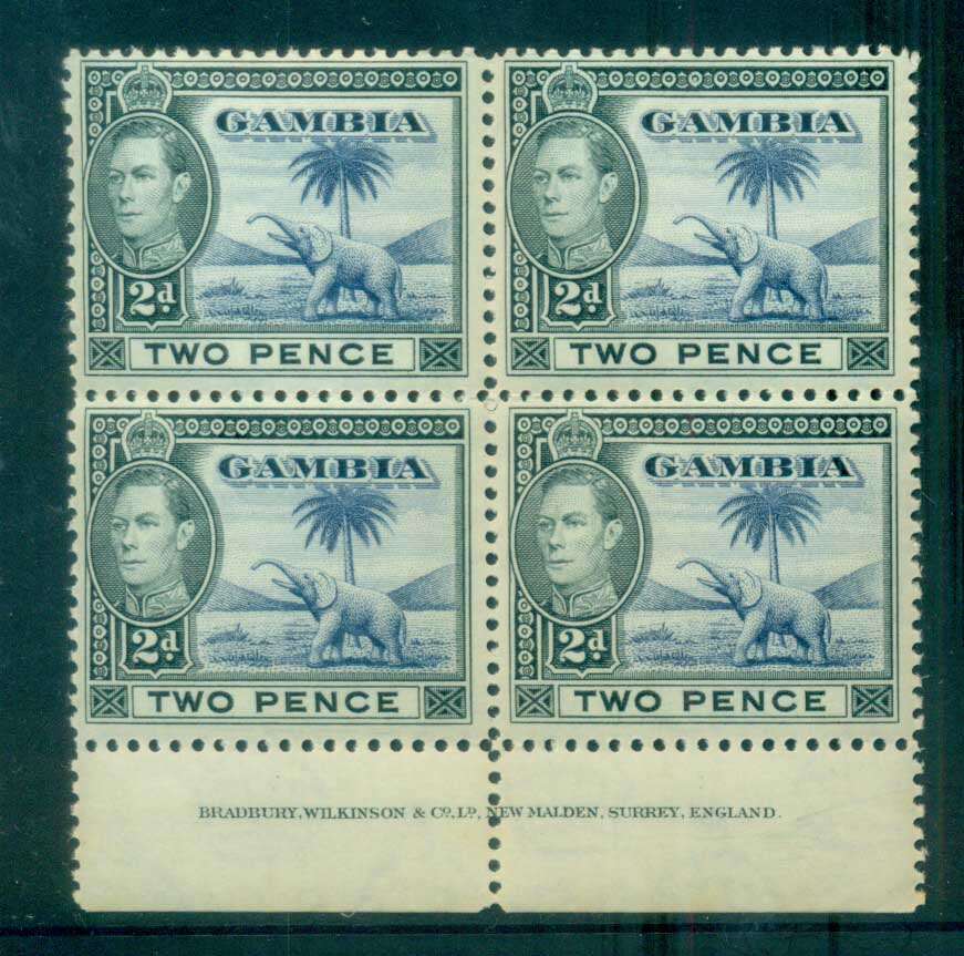 Gambia 1938-46 KGVI Elephants 2d grey blakc & ultra Imprint blk 4 MUH lot79882