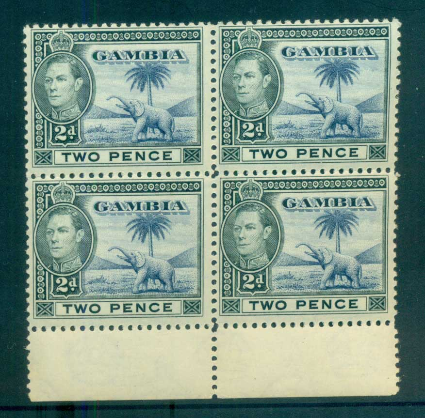 Gambia 1938-46 KGVI Elephants 2d grey blakc & ultra margin blk 4 MUH lot79883