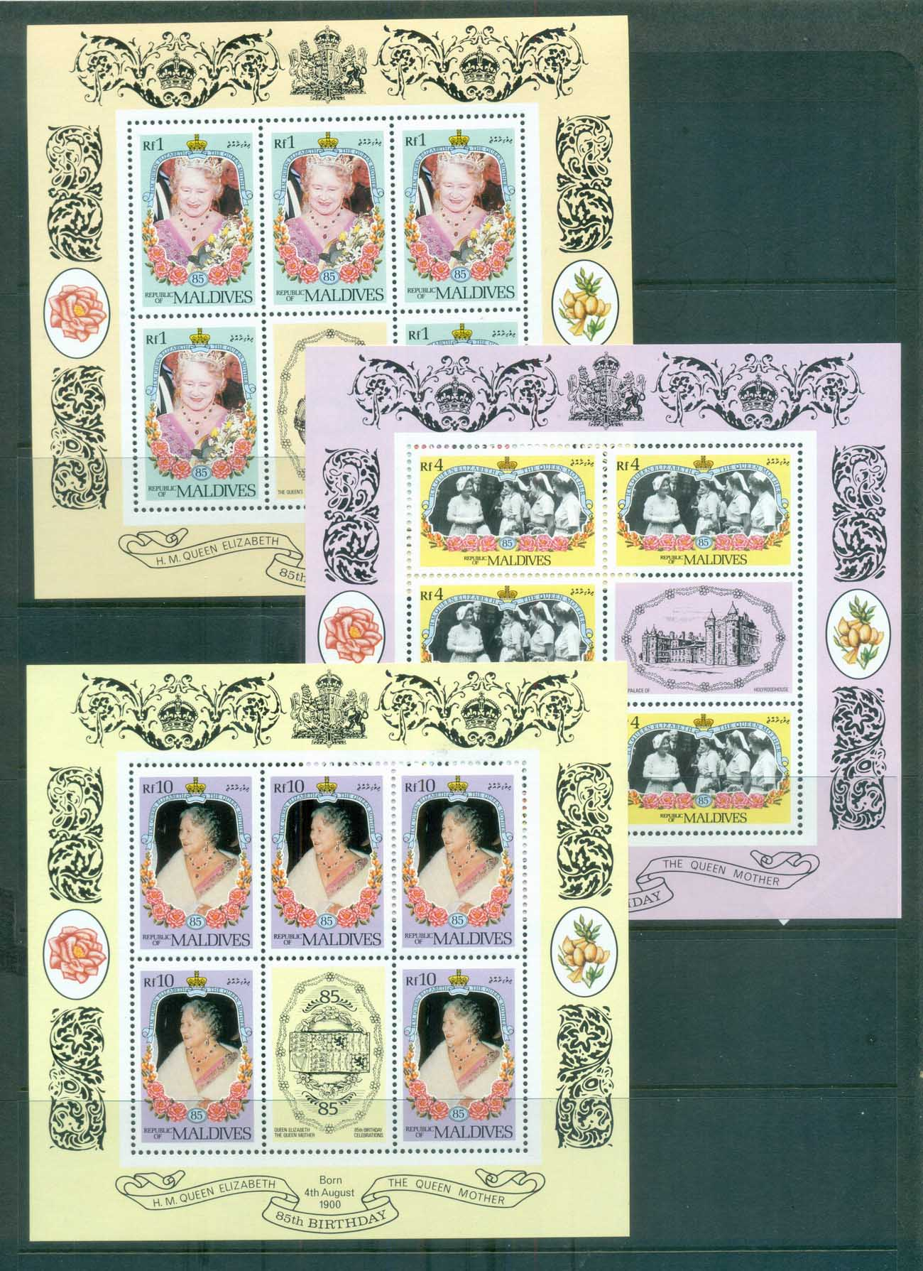 Maldive Is 1986 Queen Mother Birthdat 1,4.10r Sheetlets MUH lot79929