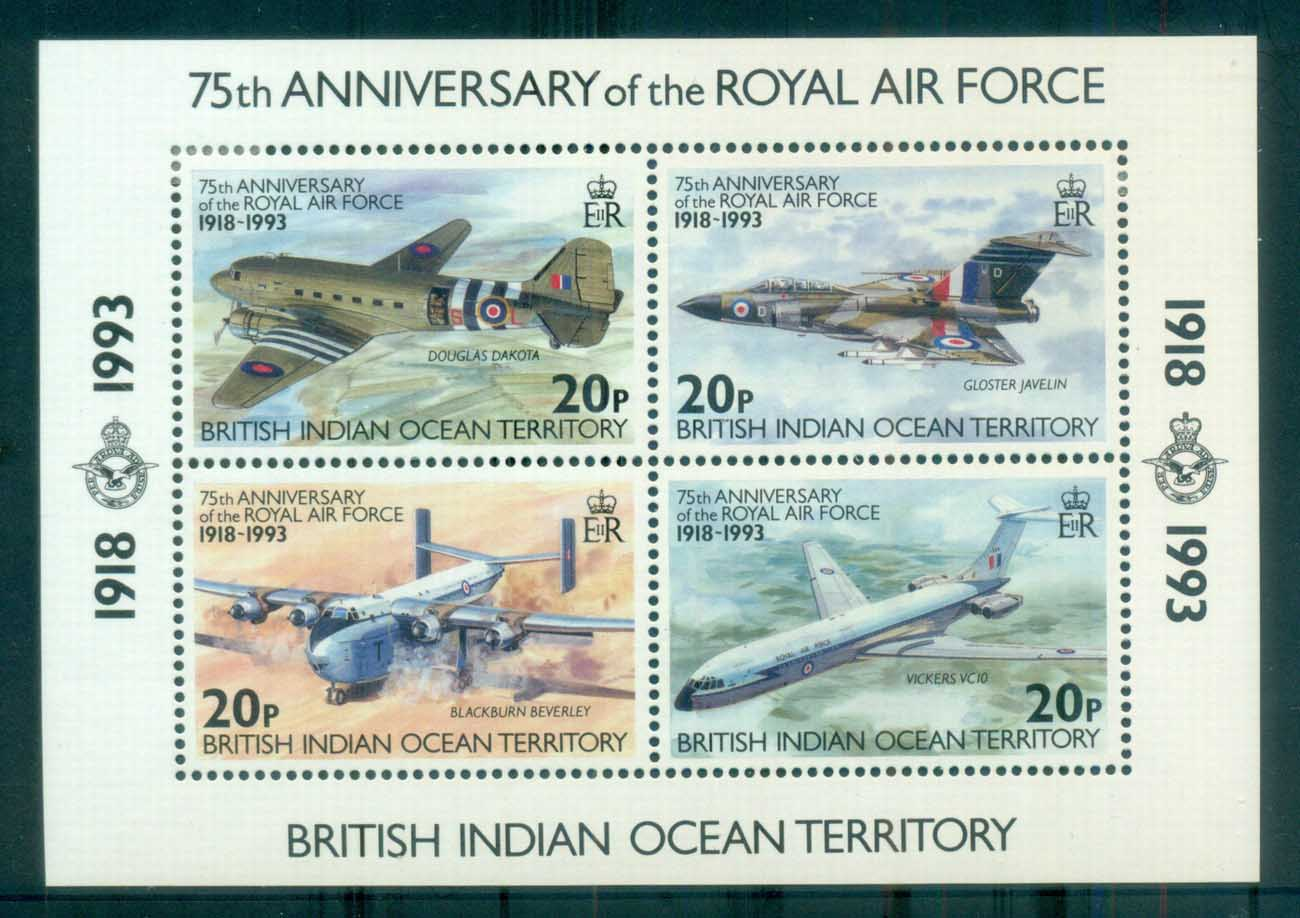 BIOT 1993 RAF 75th Anniv MS MUH lot79999