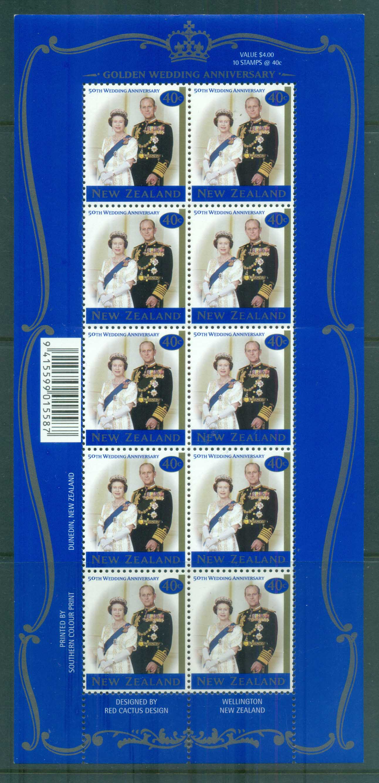 New Zealand 1997 QEII 50th Wedding Anniv MS MUH lot80006