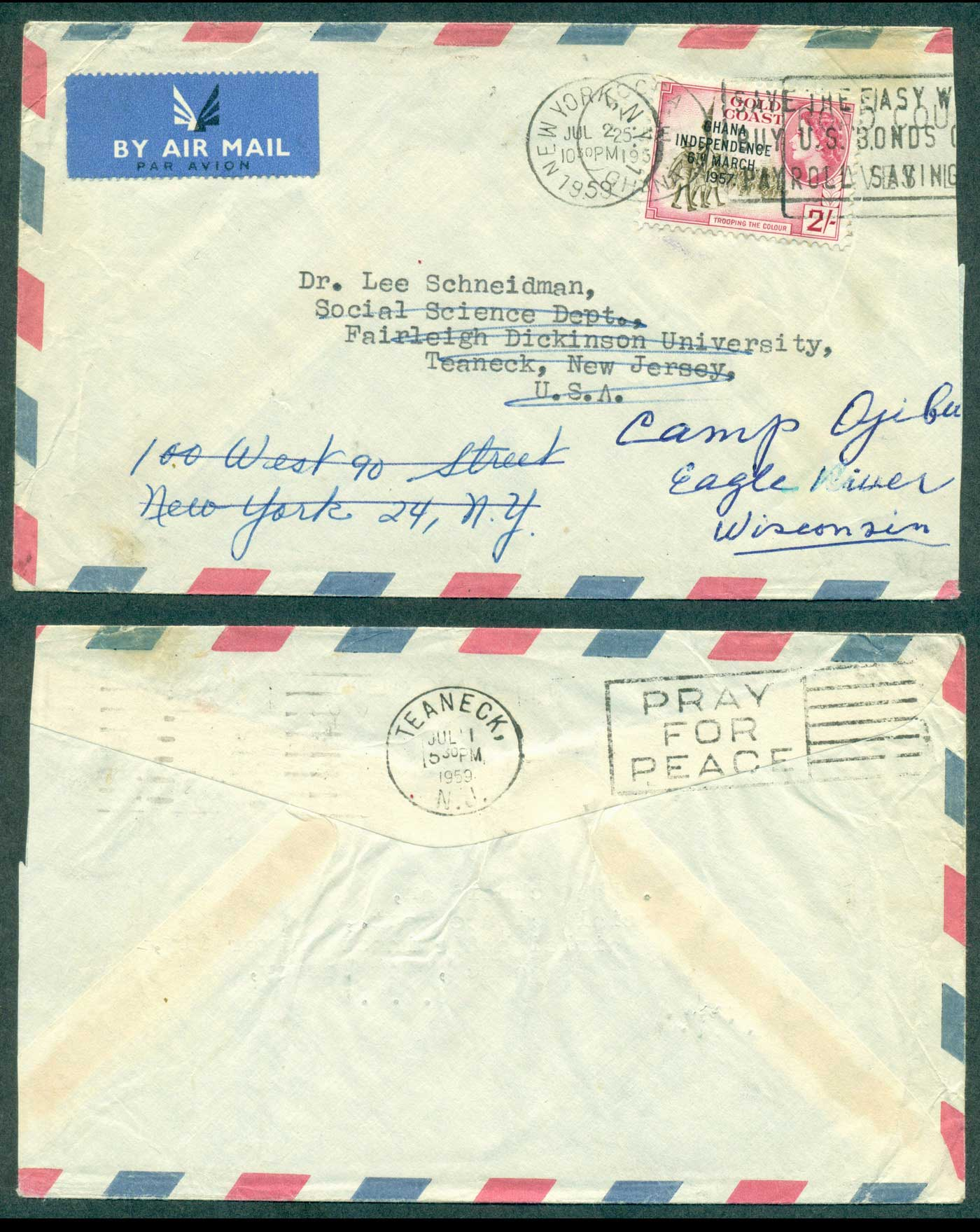 Ghana 1959 2/- Independence Opt on Air Mail cover to Wisconsin, redirected, slightly reduced at right