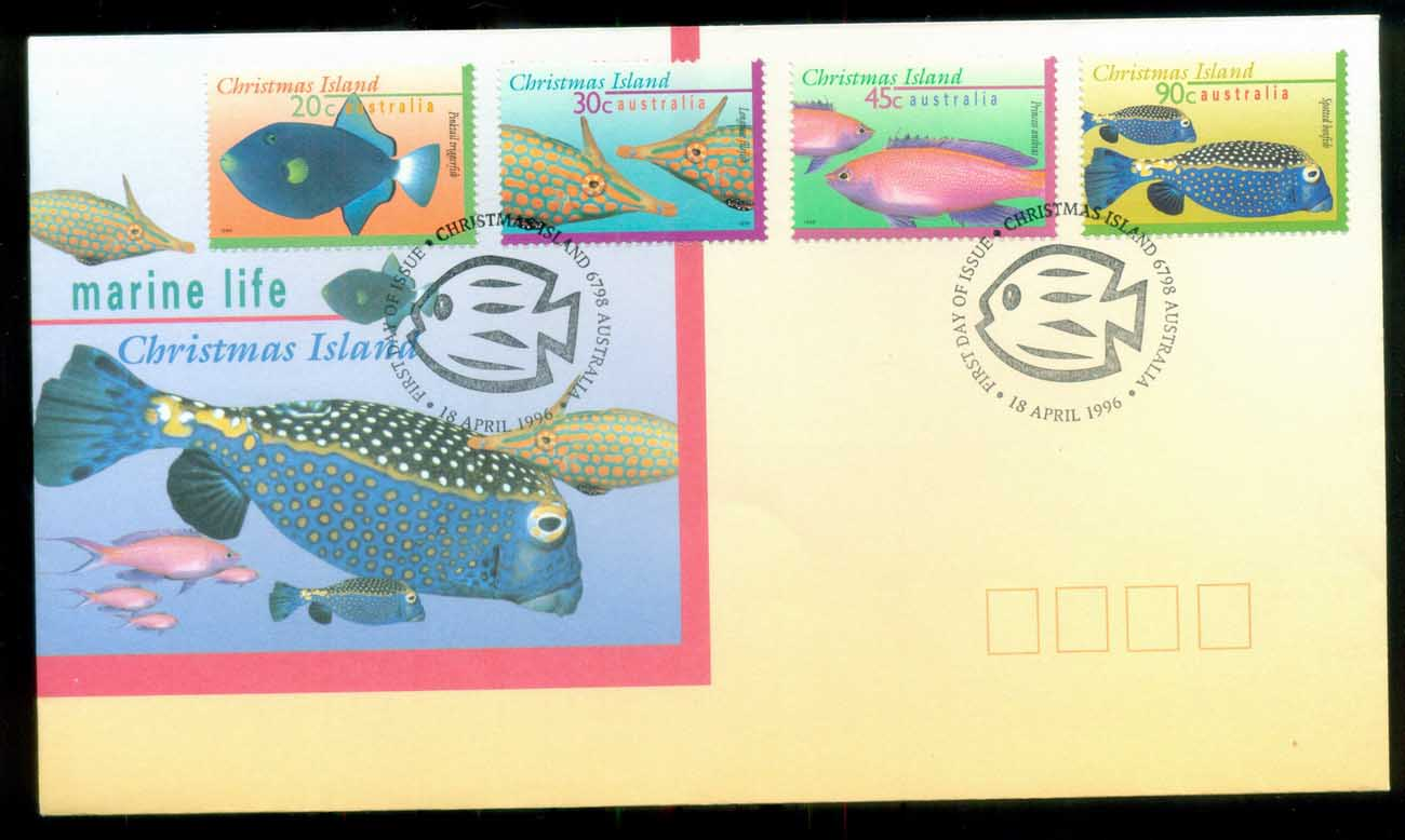 Christmas Is 1996 Marine Life IV, 20,30,45,90c FDC lot80200
