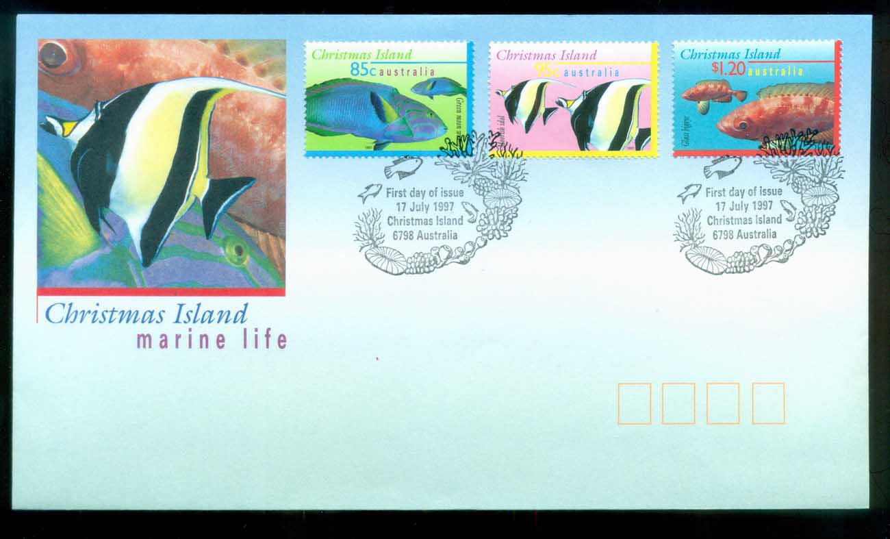 Christmas Is 1997 Marine Life III, 85,95c, $1.20, Christmas Is FDC lot80205