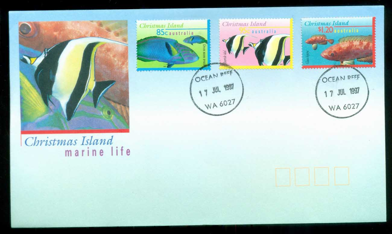 Christmas Is 1997 Marine Life III, 85,95c, $1.20, Ocean Reef WA FDC lot80206