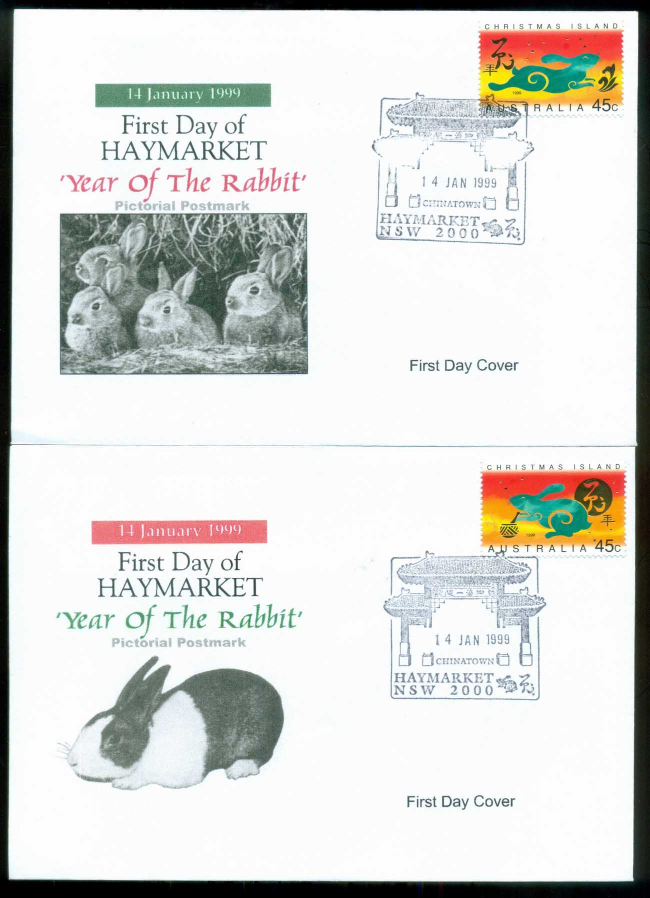 Christmas Is 1999 New Year of the Rabbit 45c , Haymarket, Alpha 2xFDC lot80225