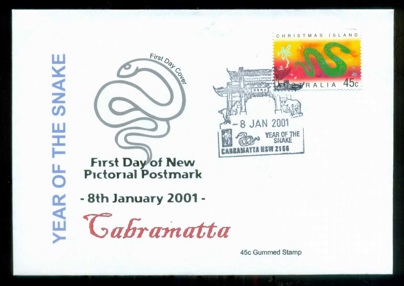 Christmas Is 2001 New Year of the Snake, Cabramatta NSW, Alpha FDC lot80256