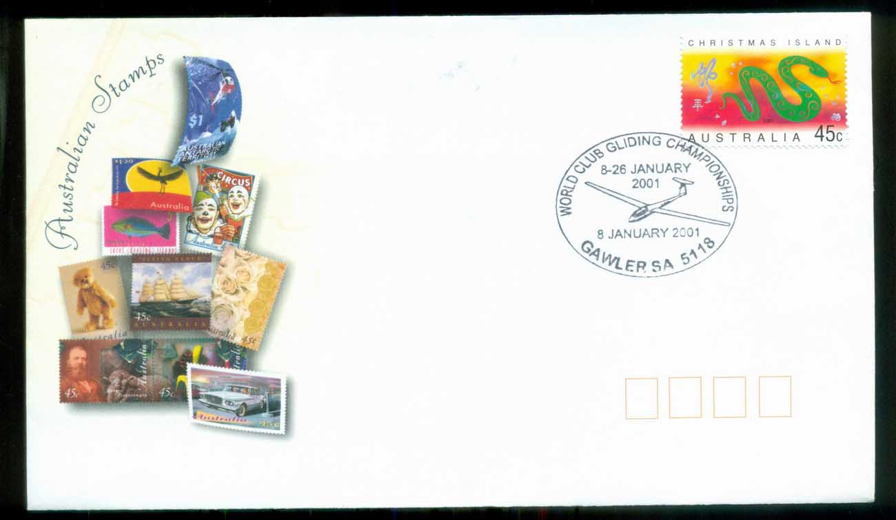 Christmas Is 2001 New Year of the Snake, Gawler Gliding Championships, Generic FDC lot80262