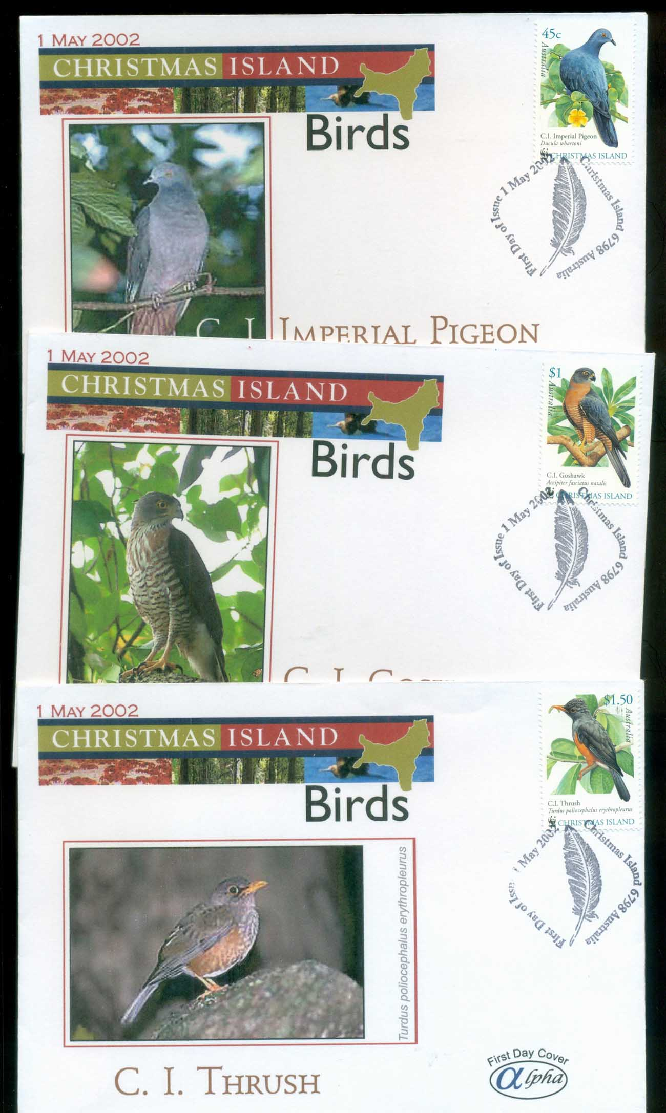 Christmas Is 2002 Birds, Christmas Is, Alpha 3xFDC lot80267