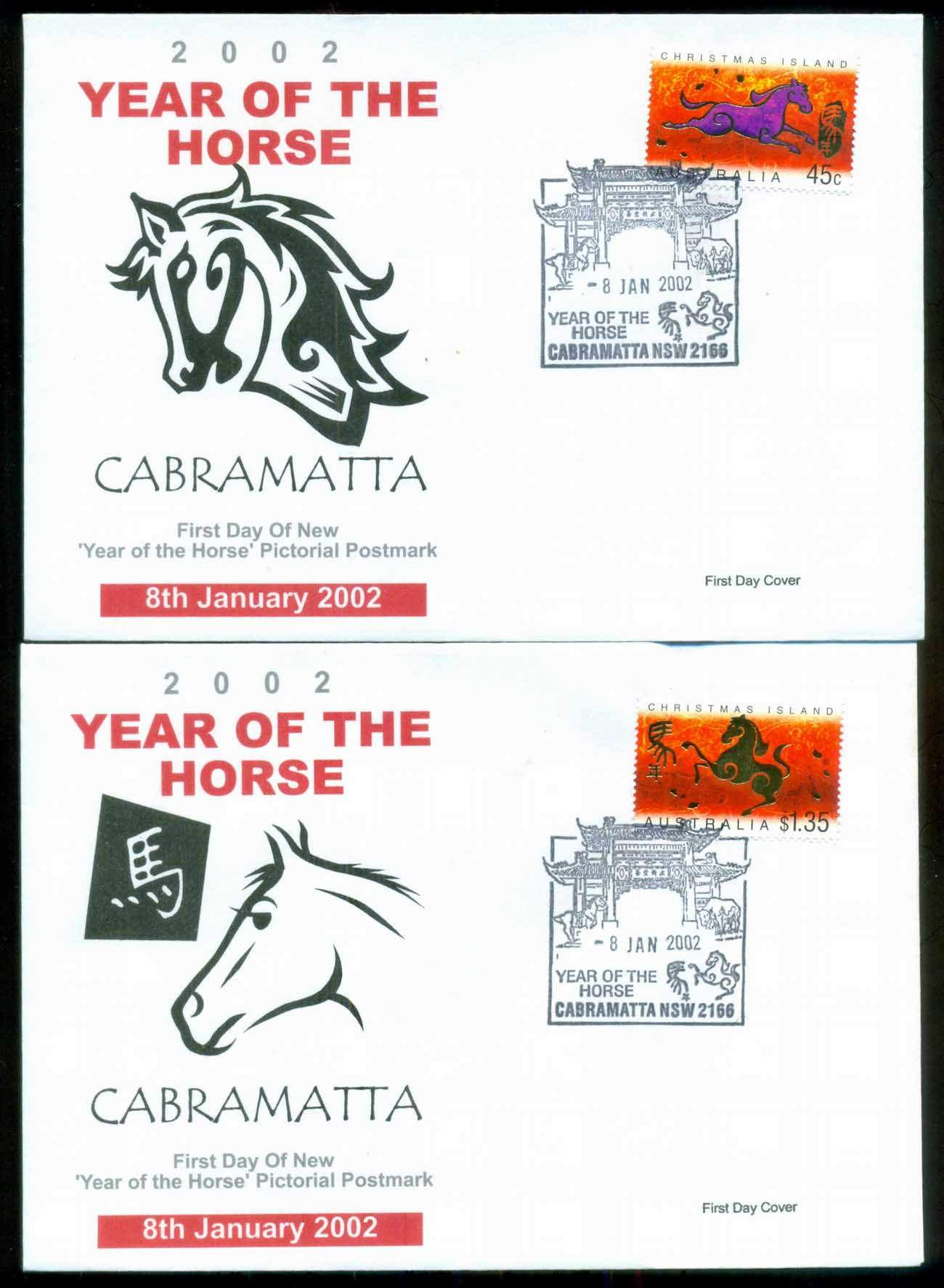 Christmas Is 2002 New Year of the Horse, Cabramatta NSW. Alpha 2xFDC lot80272