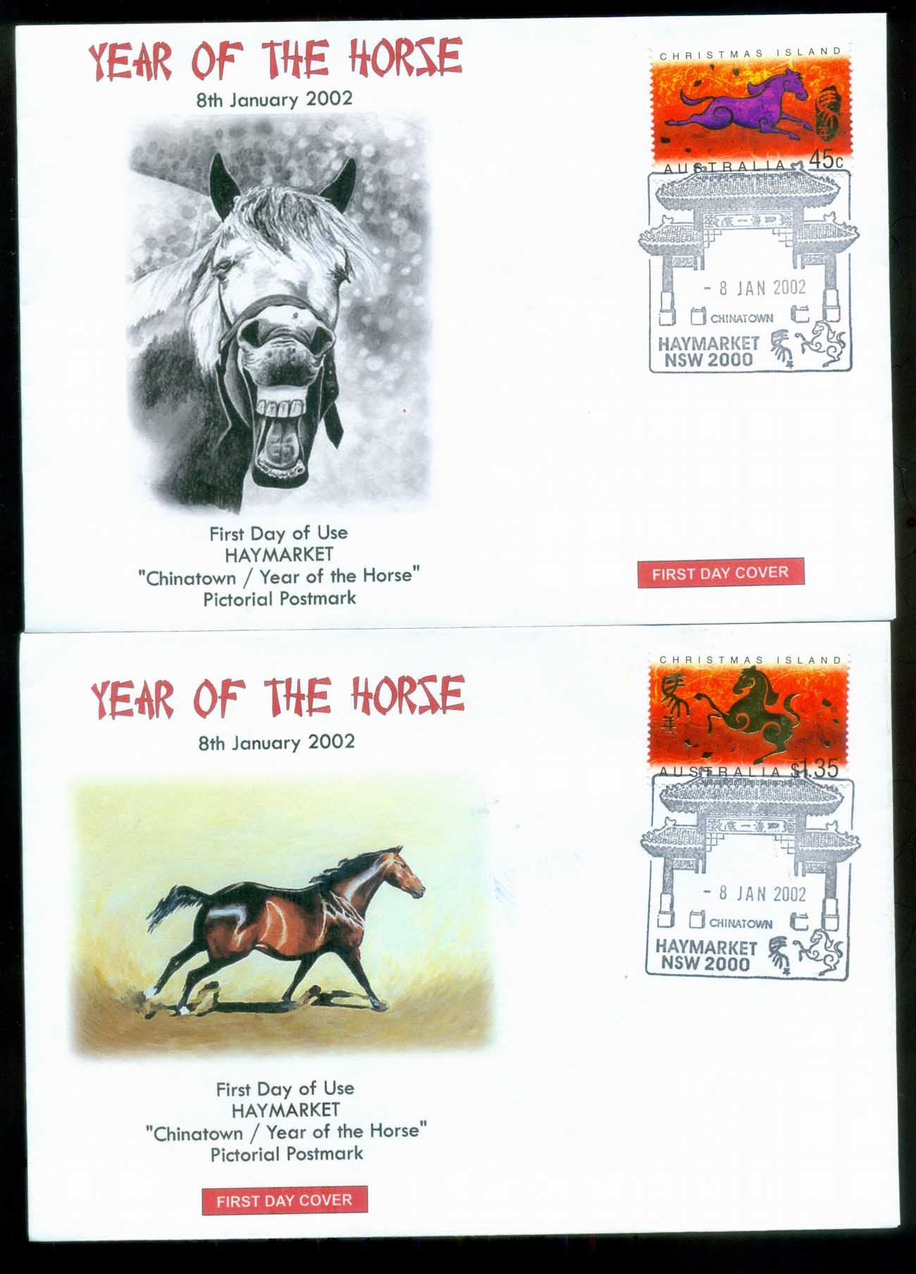 Christmas Is 2002 New Year of the Horse, Haymarket NSW. Alpha 2xFDC lot80274