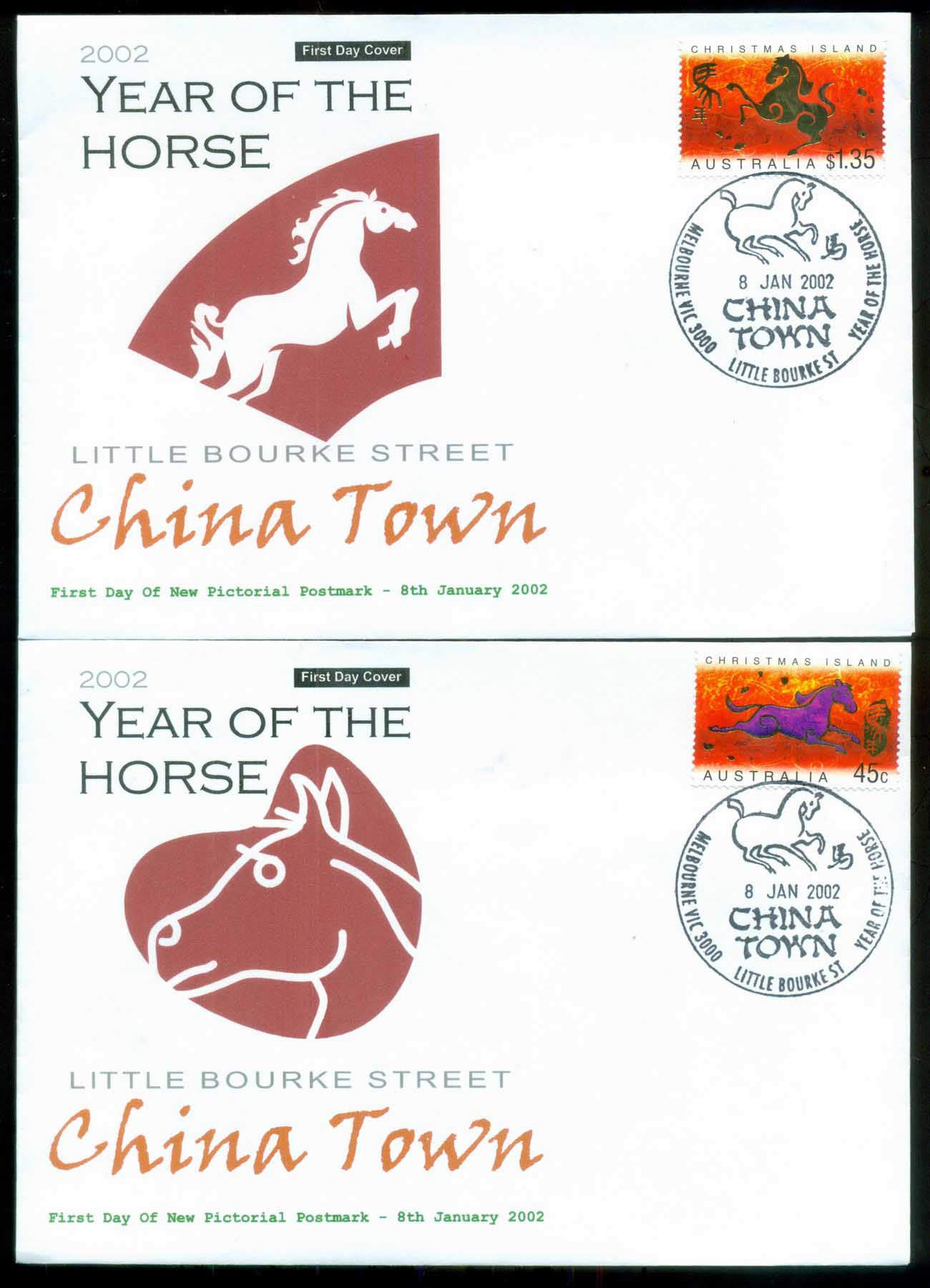 Christmas Is 2002 New Year of the Horse, Chinatown Melbourne Alpha 2xFDC lot80279