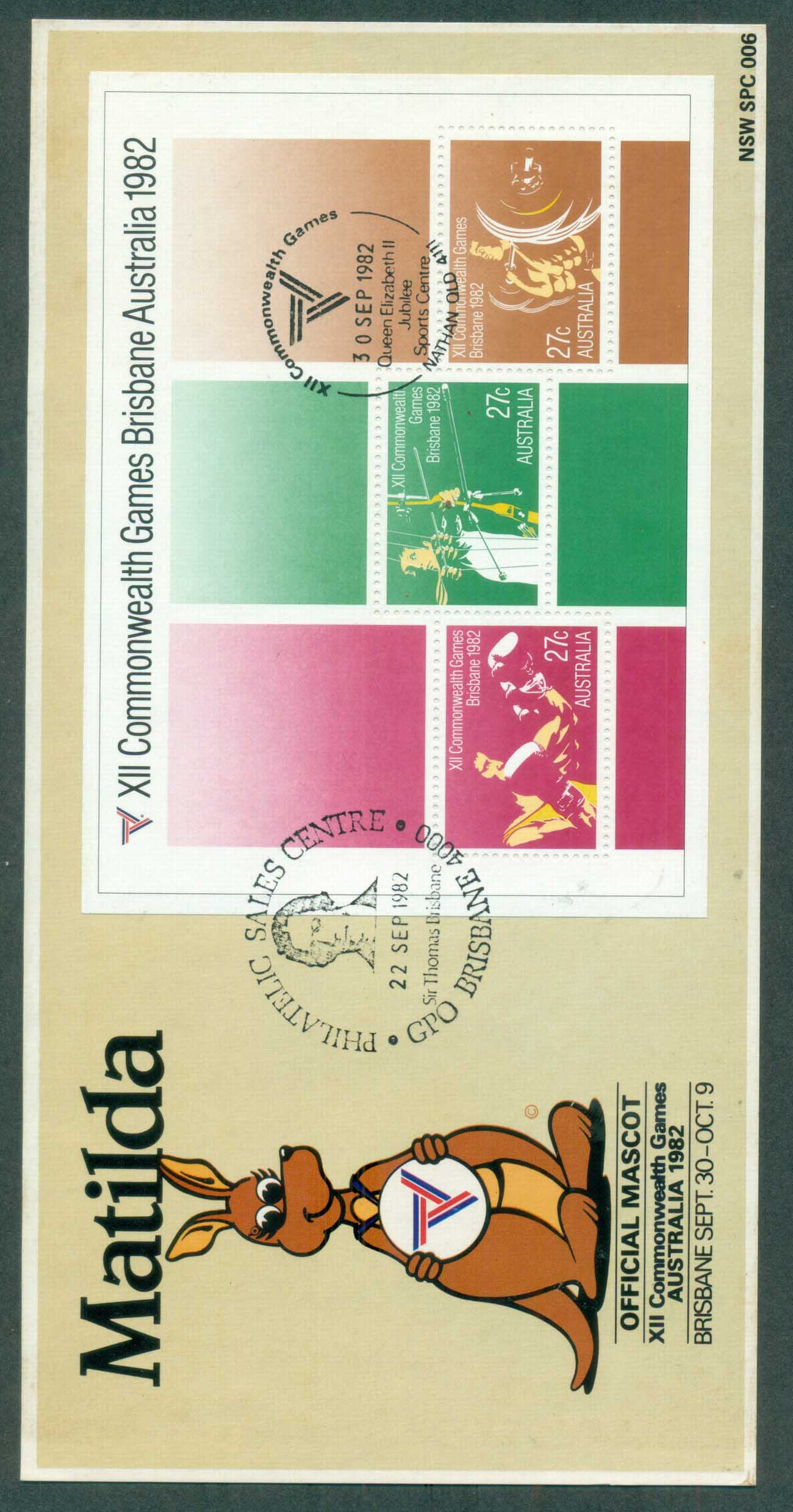 Australia 1982 Commonwealth Games MS Maxicard lot80393