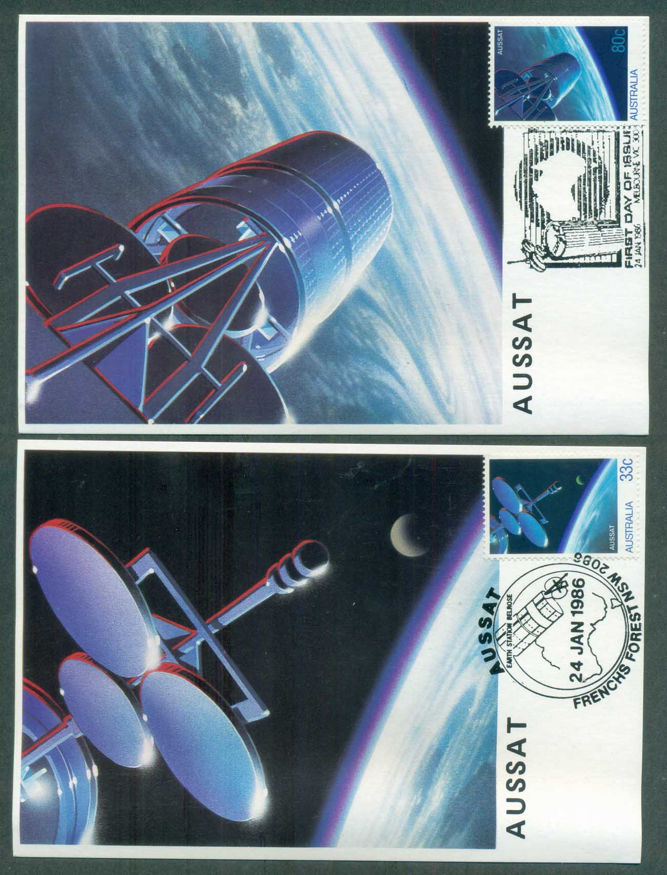 Australia 1986 Aussat 2x Maxicards lot80407