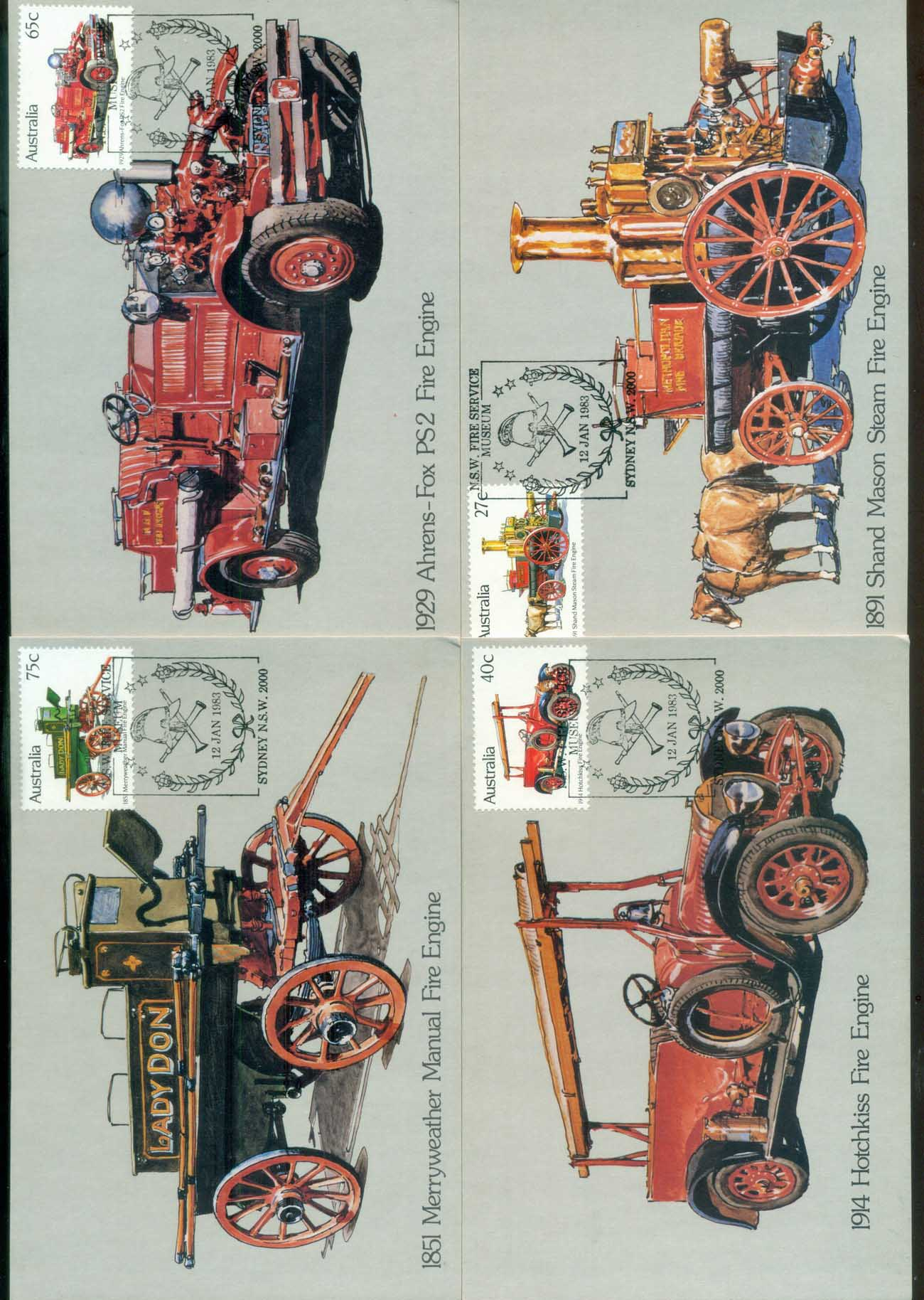 Australia 1983 Fire Engines 4x Maxicards lot80427