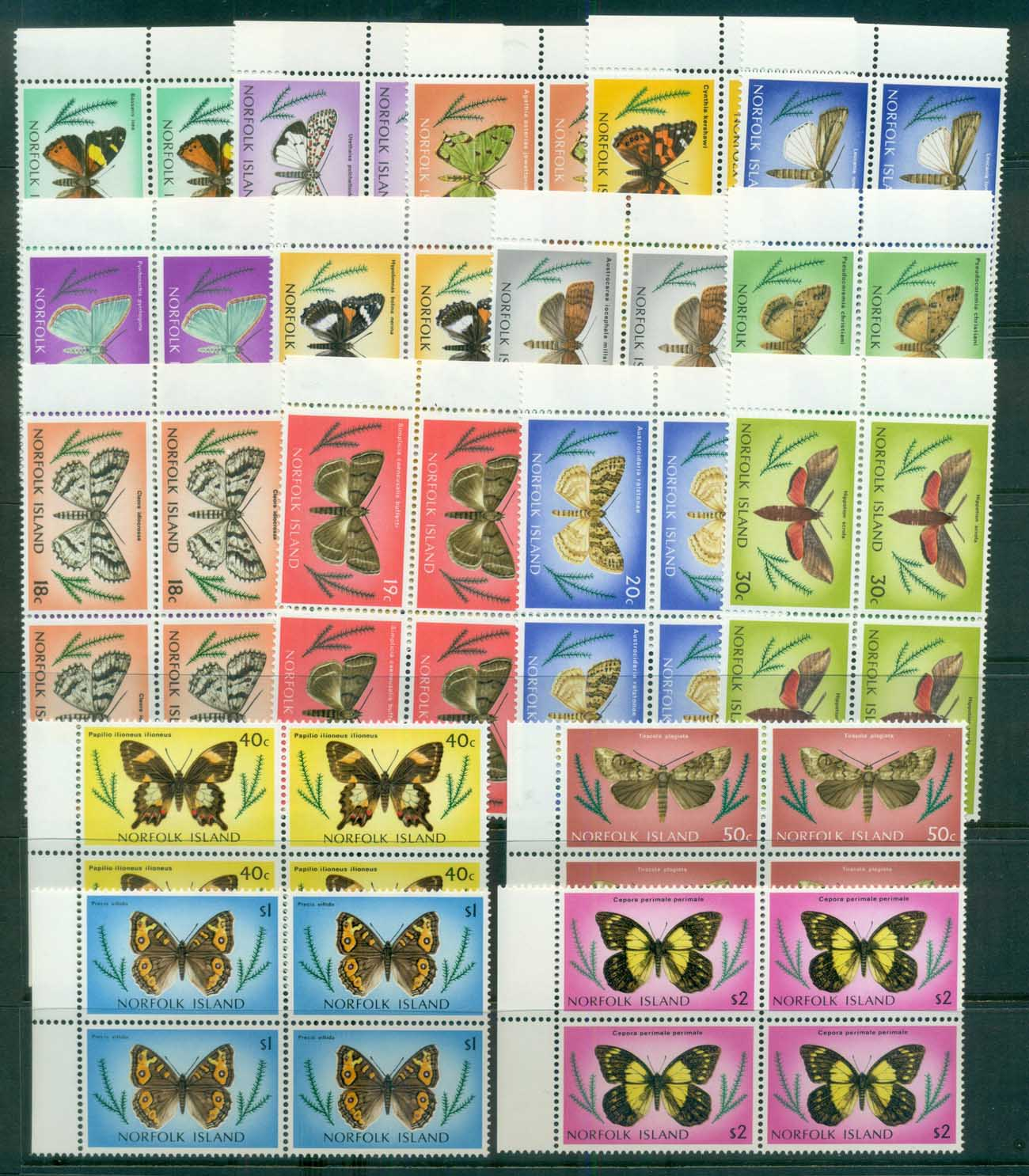 Norfolk Is 1976 Moths & Butterflies Blk 4 MUH lot80524