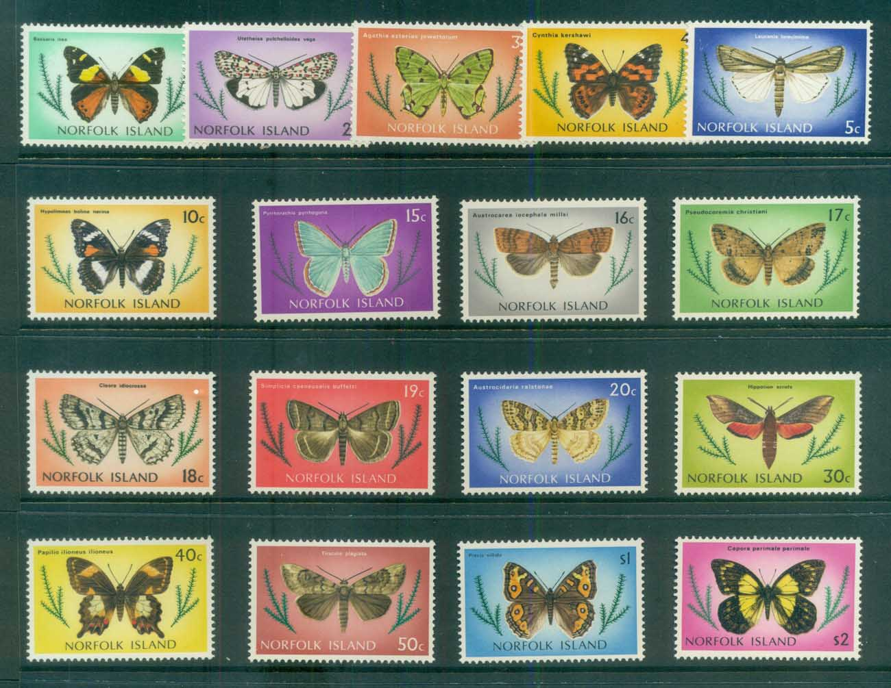 Norfolk Is 1976 Moths & Butterflies MUH lot80525