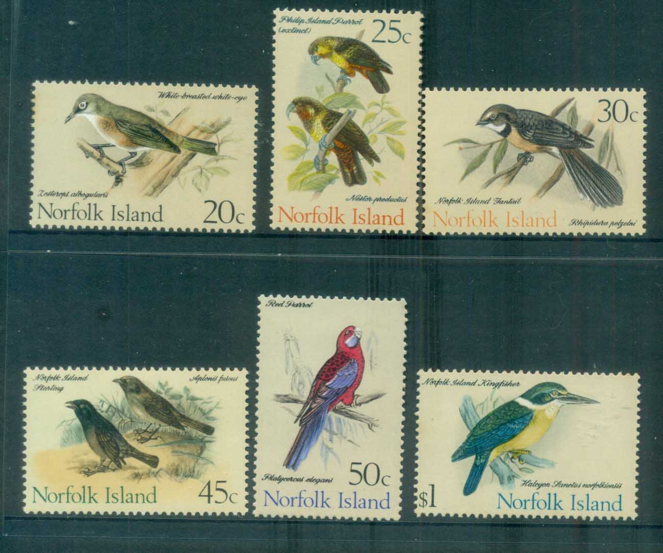 Norfolk Is 1971 Birds 20,25,30,45c,50c $1 (6v) MUH lot80569