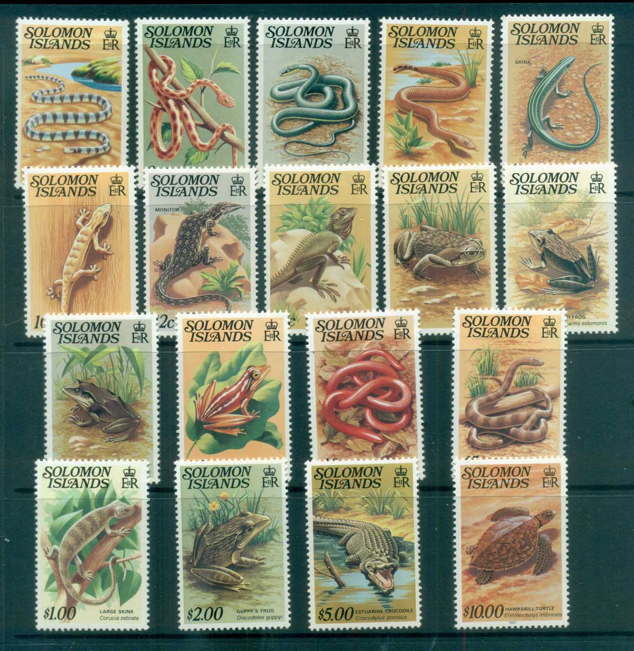 Solomon Is 1979-83 Reptiles, Snakes MUH lot80710
