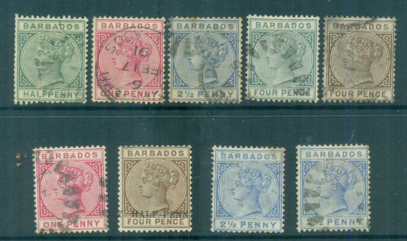 Barbados 1882-85 Queen Victoria (faults) FU lot80758