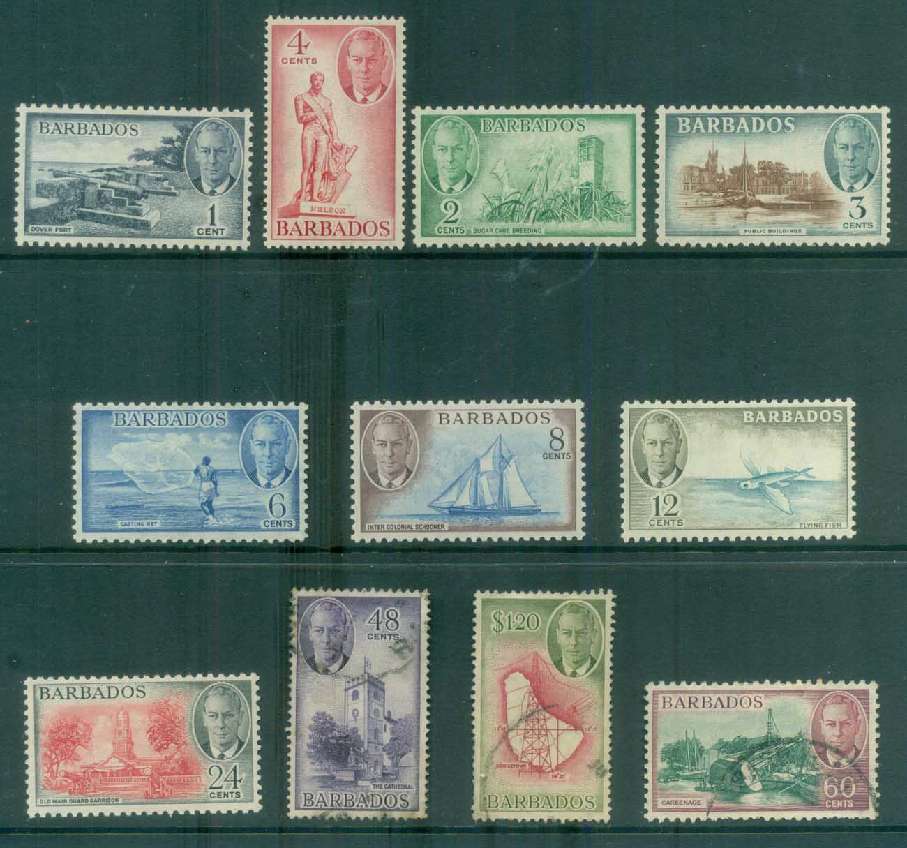Barbados 1950 KGVI Pictorials Asst to $1.20 MLH/FU lot80771
