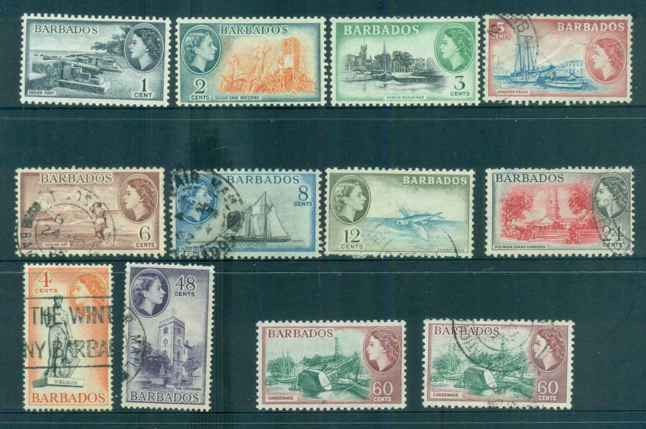 Barbados 1953-57 QEII Pictorials Asst MLH/FU lot80775