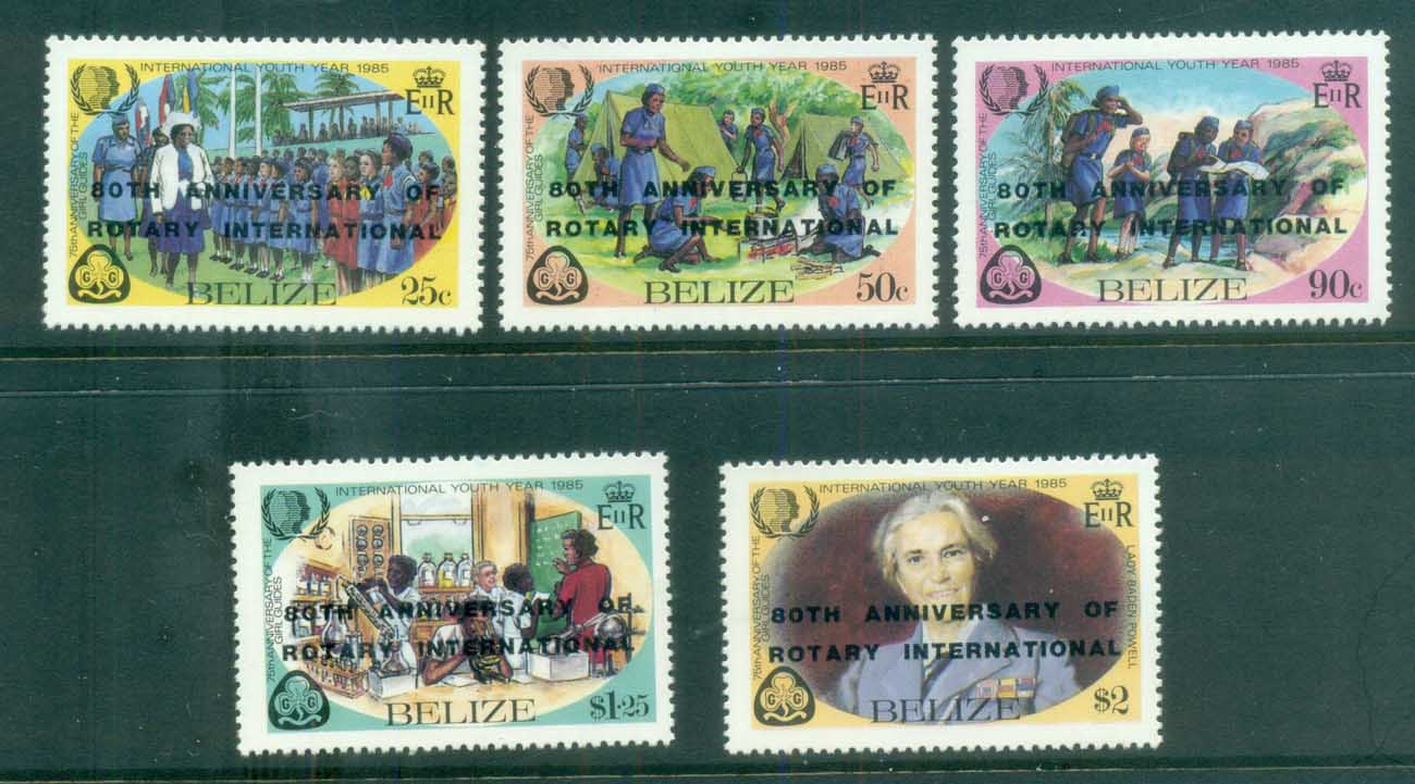 Belize 1985 Girl Guides Opt Rotary MLH lot80874