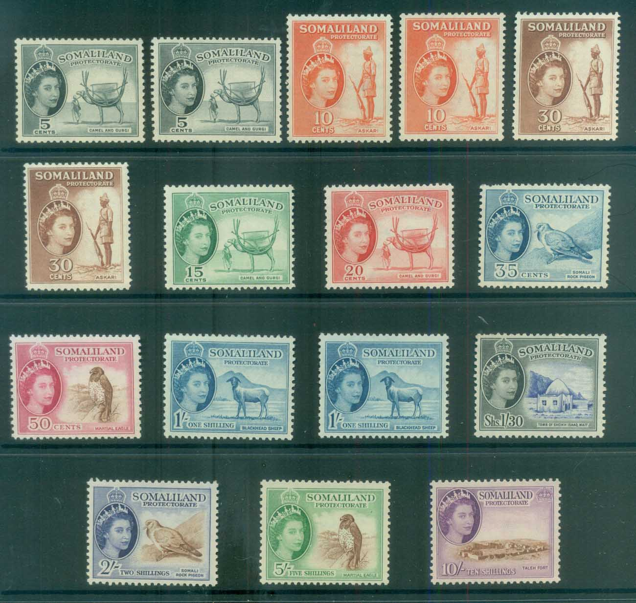 Somaliland Protectorate 1953-58 QEII Pictorials + shades MLH lot81223