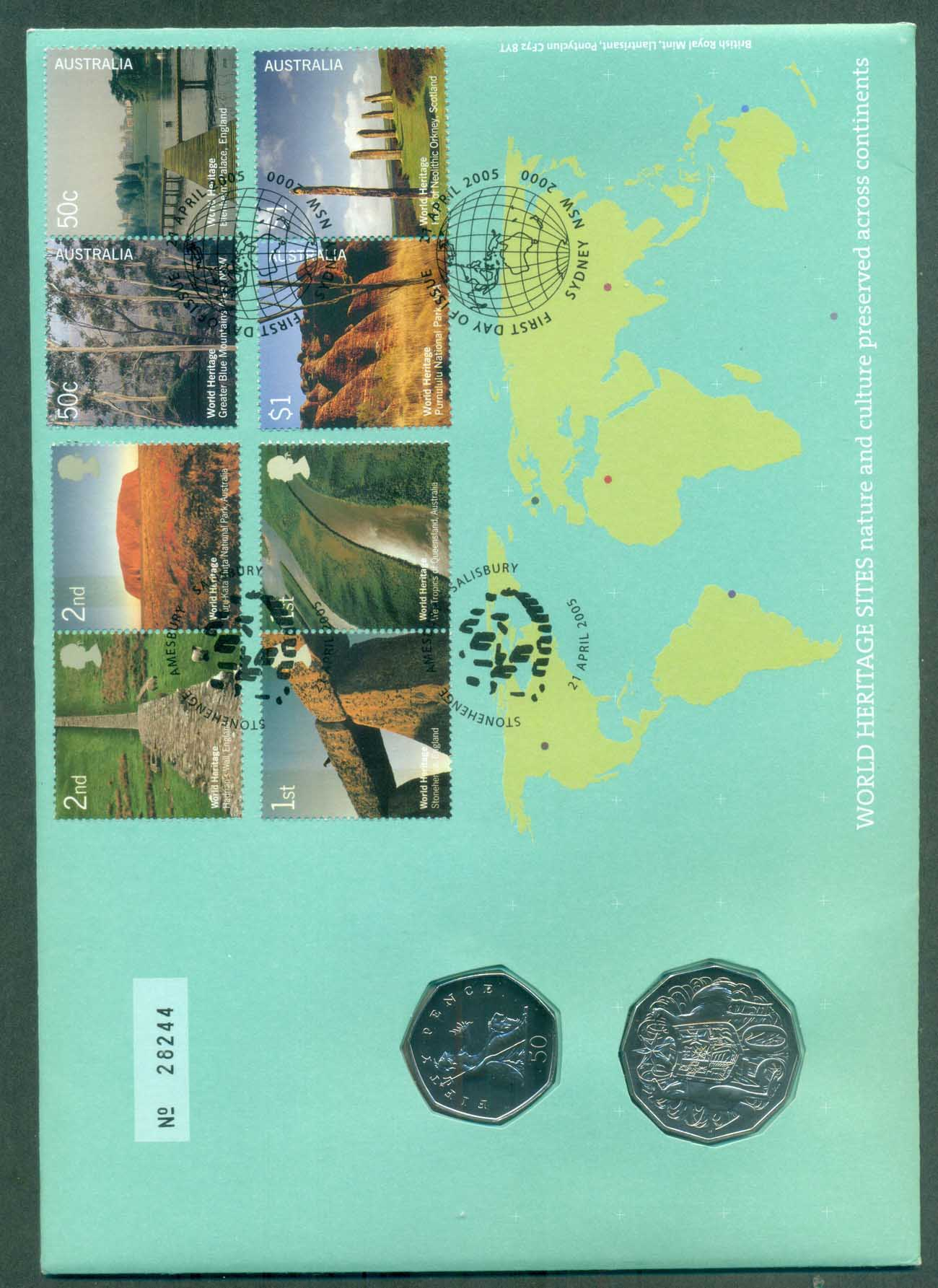 GB 2005 World Heritage Joint Aust/GB PNC lot81248xl