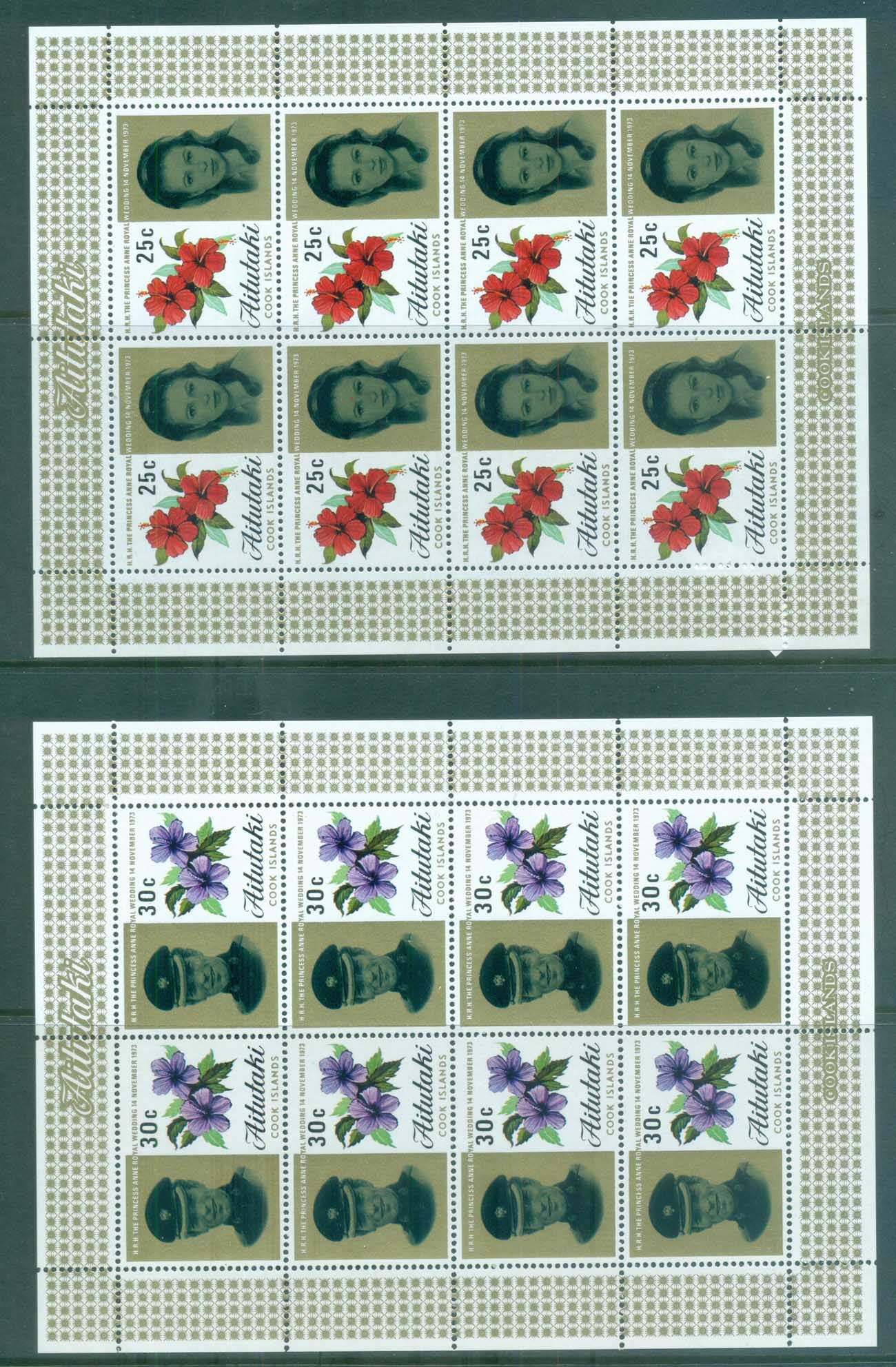 Aitutaki 1973 Royal Wedding, Princess Anne Sheetlet MUH lot81347