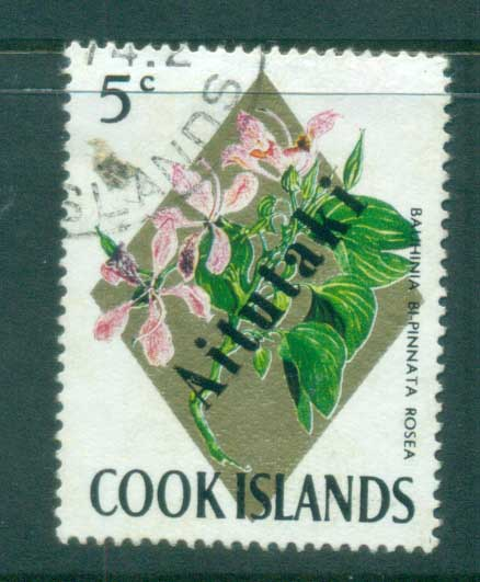 Aitutaki 1972 Flowers 5c Opt on Cook Is FU lot81350