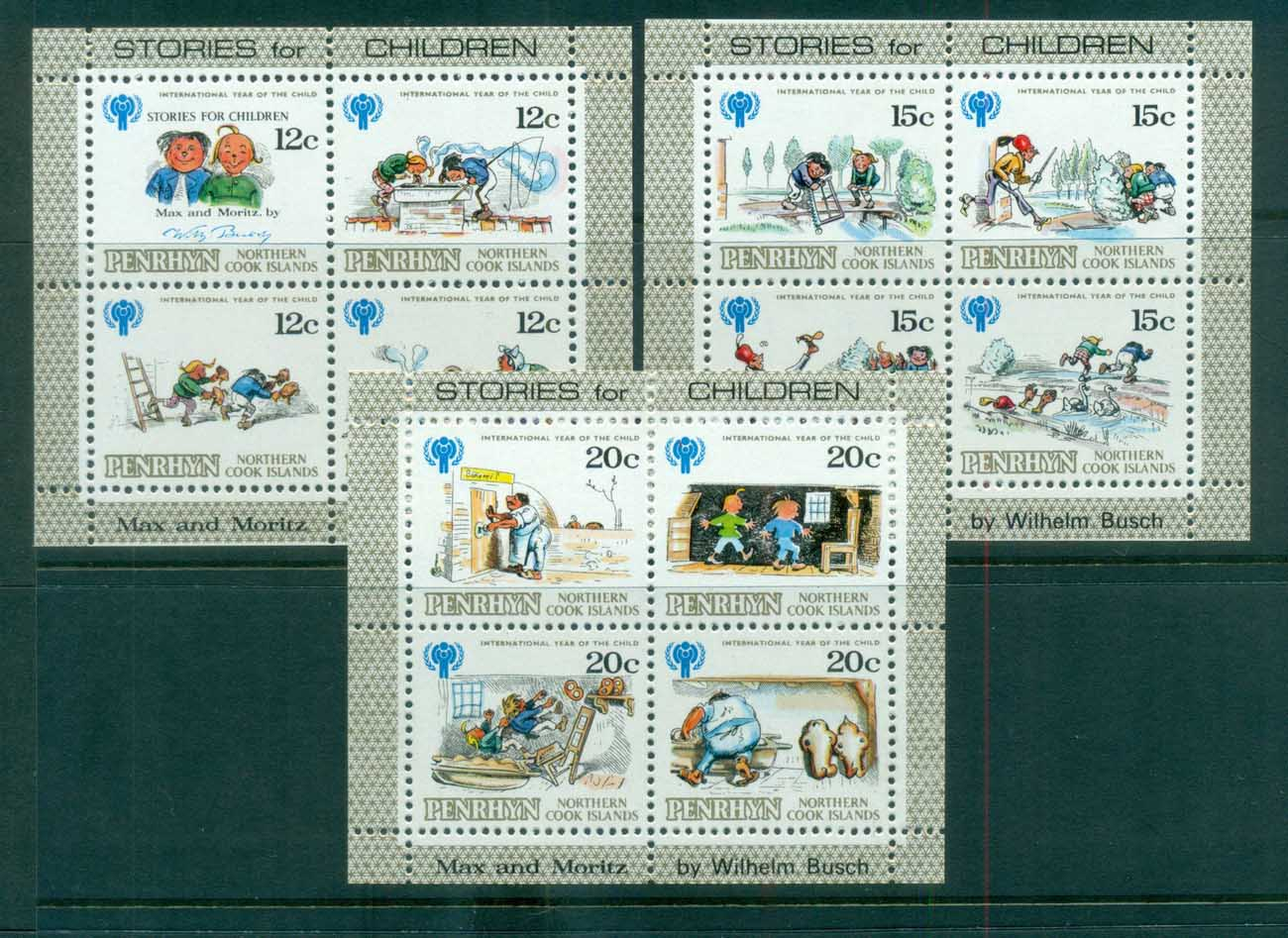 Penrhyn Is 1979 IYC Intl. Year of Children 3xMS MUH lot81357