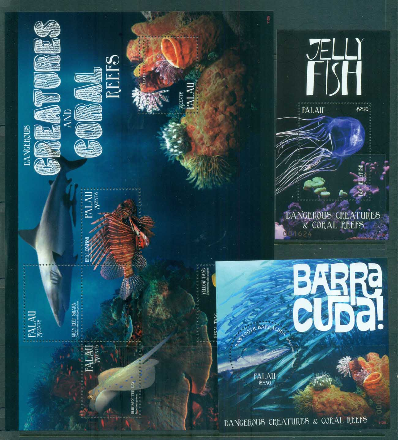 Palau 2011 Dangerous Creatures and Coral Reefs 3xMS MUH lot81419