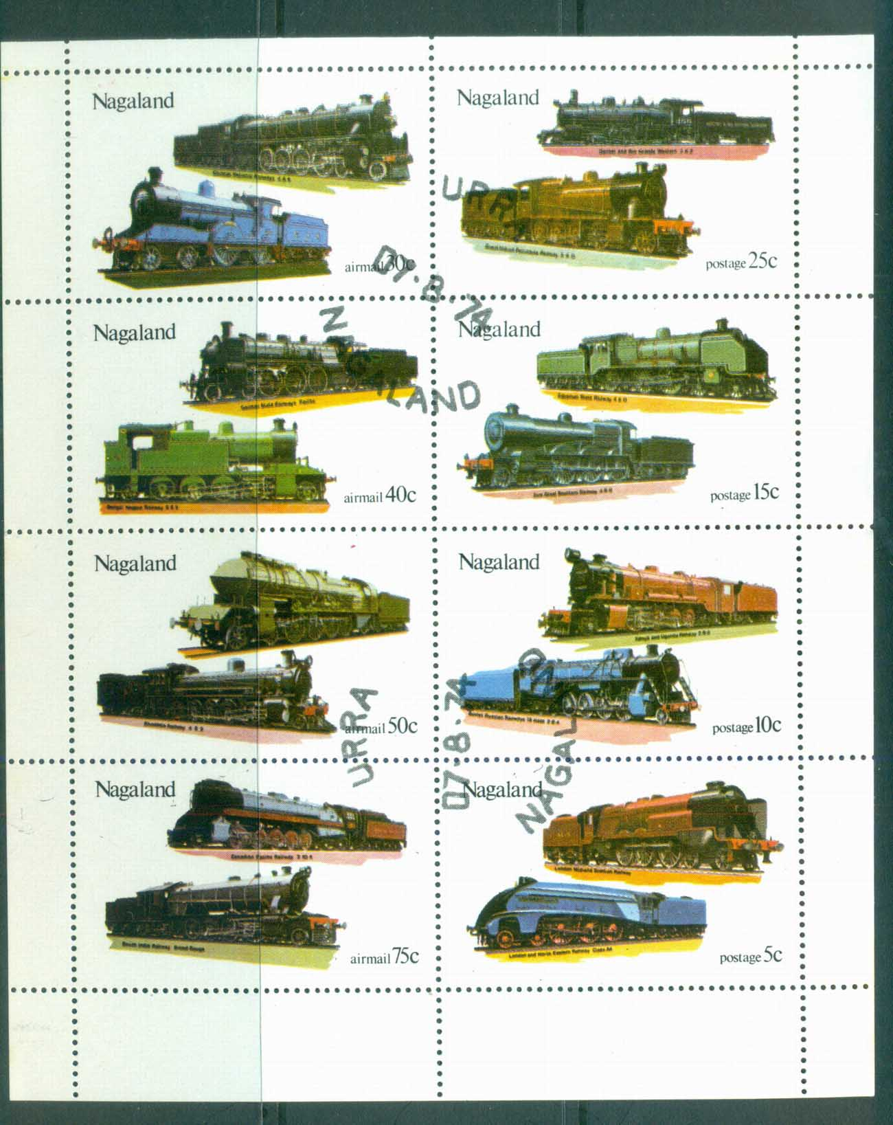 Nagaland 1974 Trains Sheetlet CTO lot81714