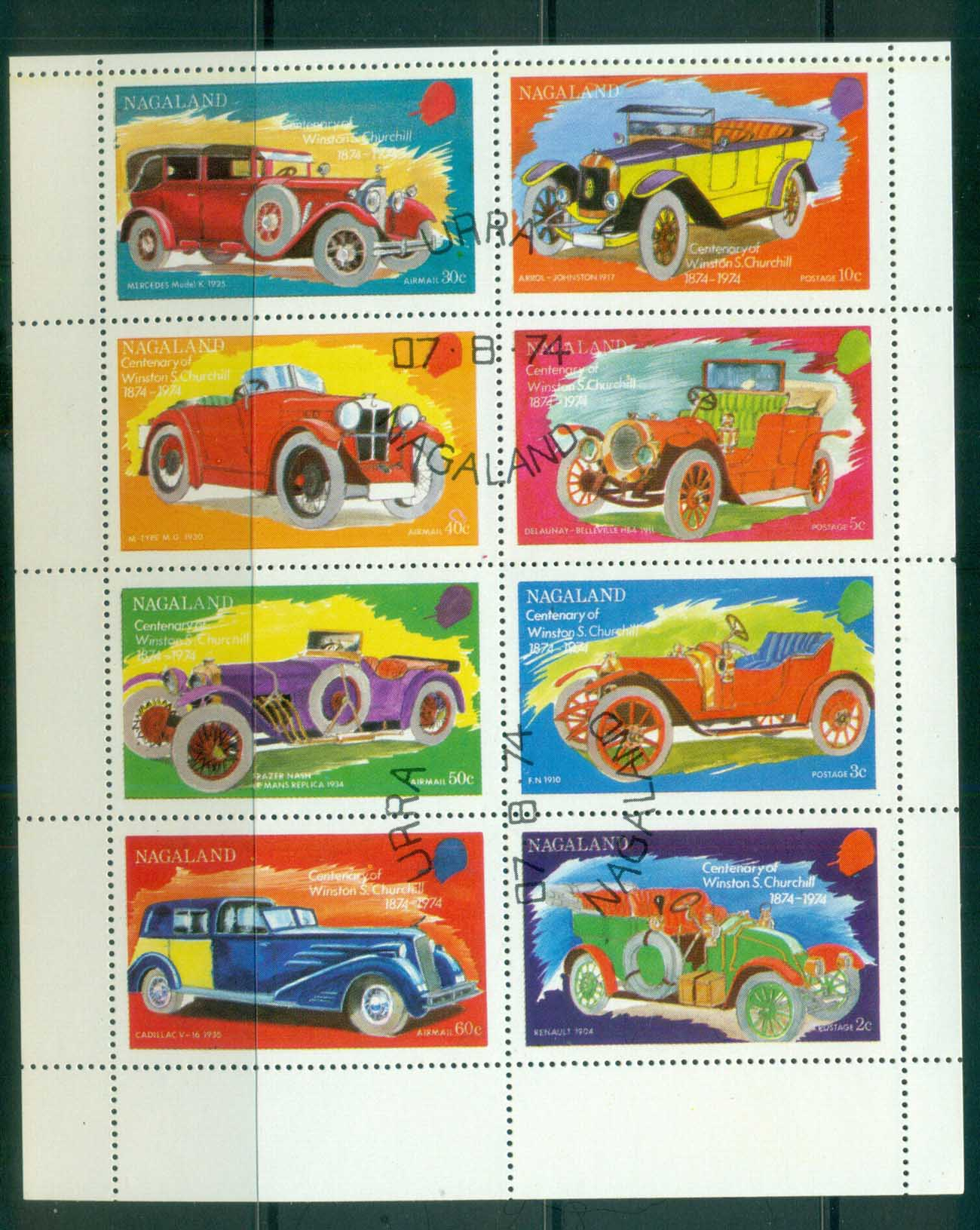 Nagaland 1974 Vintage Cars Sheetlet CTO lot81716