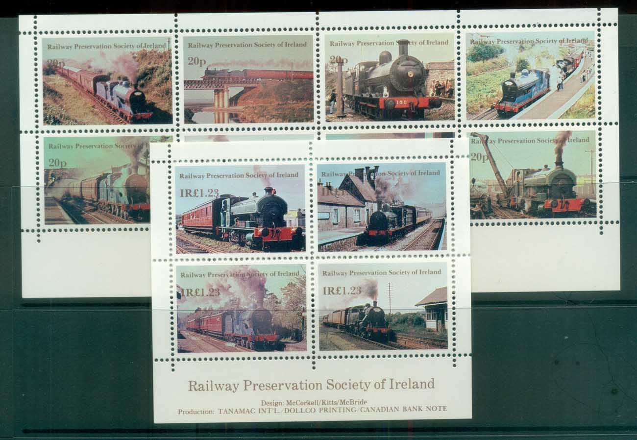 Ireland 1990c Railway Preservation Society 2xMS MUH lot81769